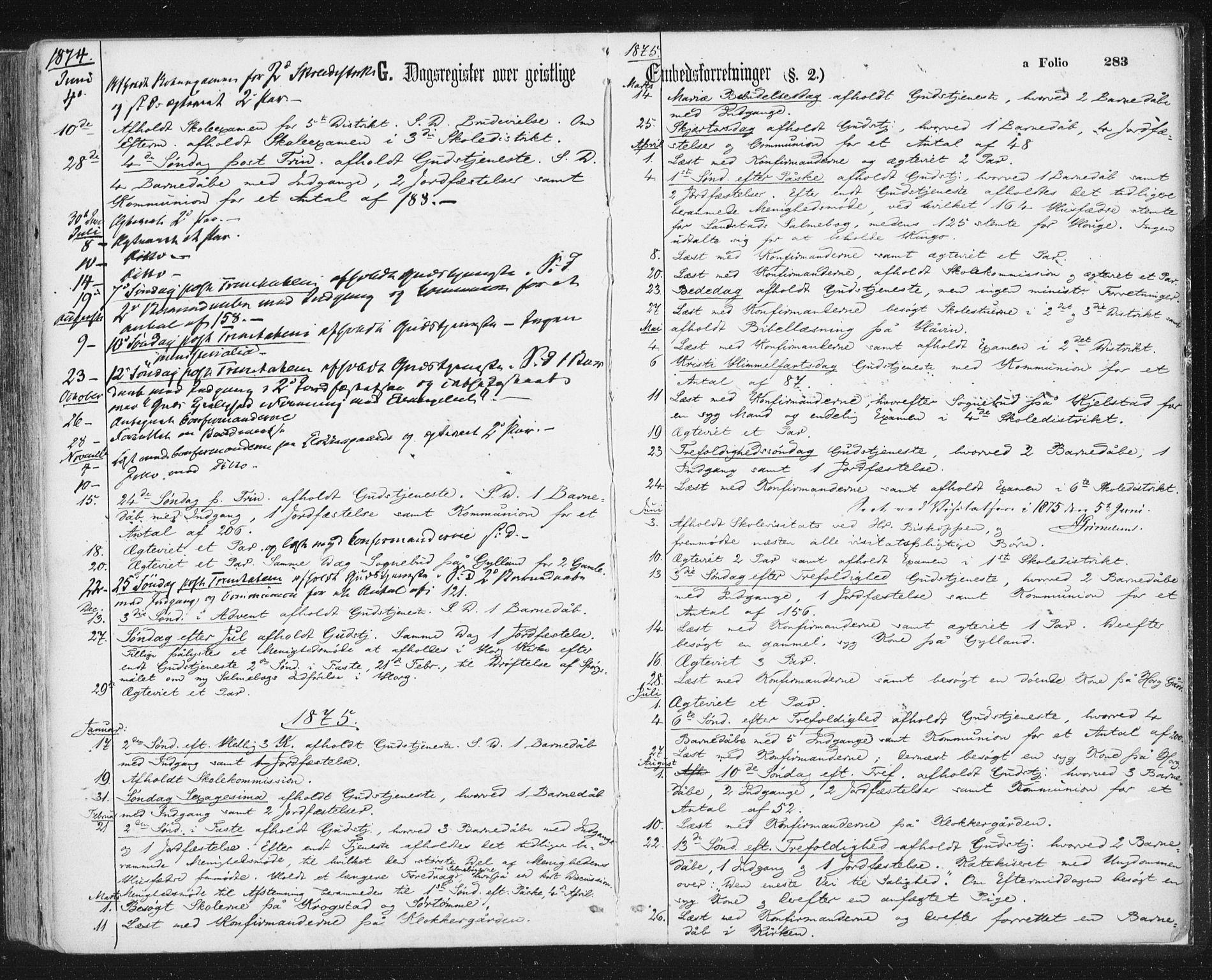 SAT, Ministerialprotokoller, klokkerbøker og fødselsregistre - Sør-Trøndelag, 692/L1104: Ministerialbok nr. 692A04, 1862-1878, s. 283