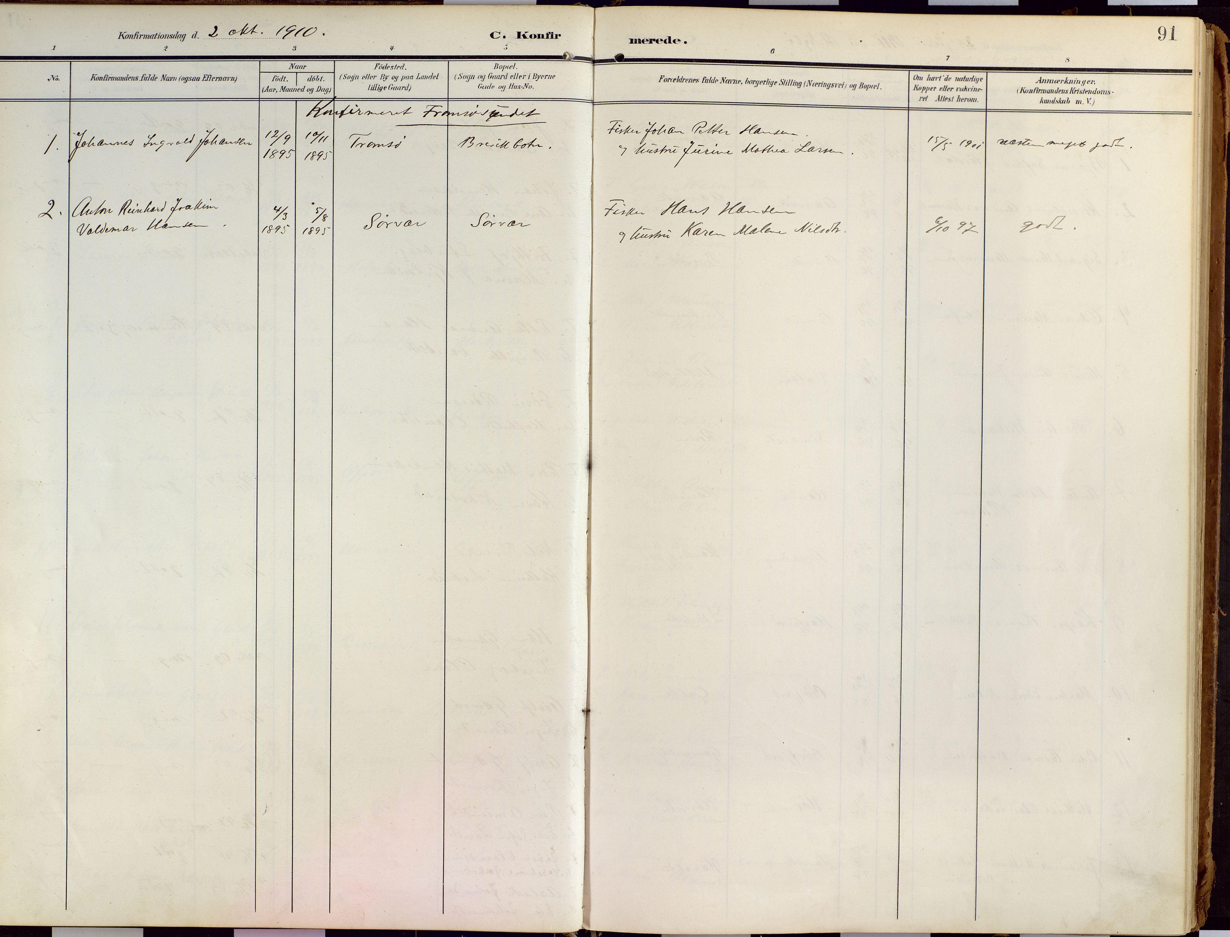 SATØ, Loppa sokneprestkontor, H/Ha/L0010kirke: Ministerialbok nr. 10, 1907-1922, s. 91