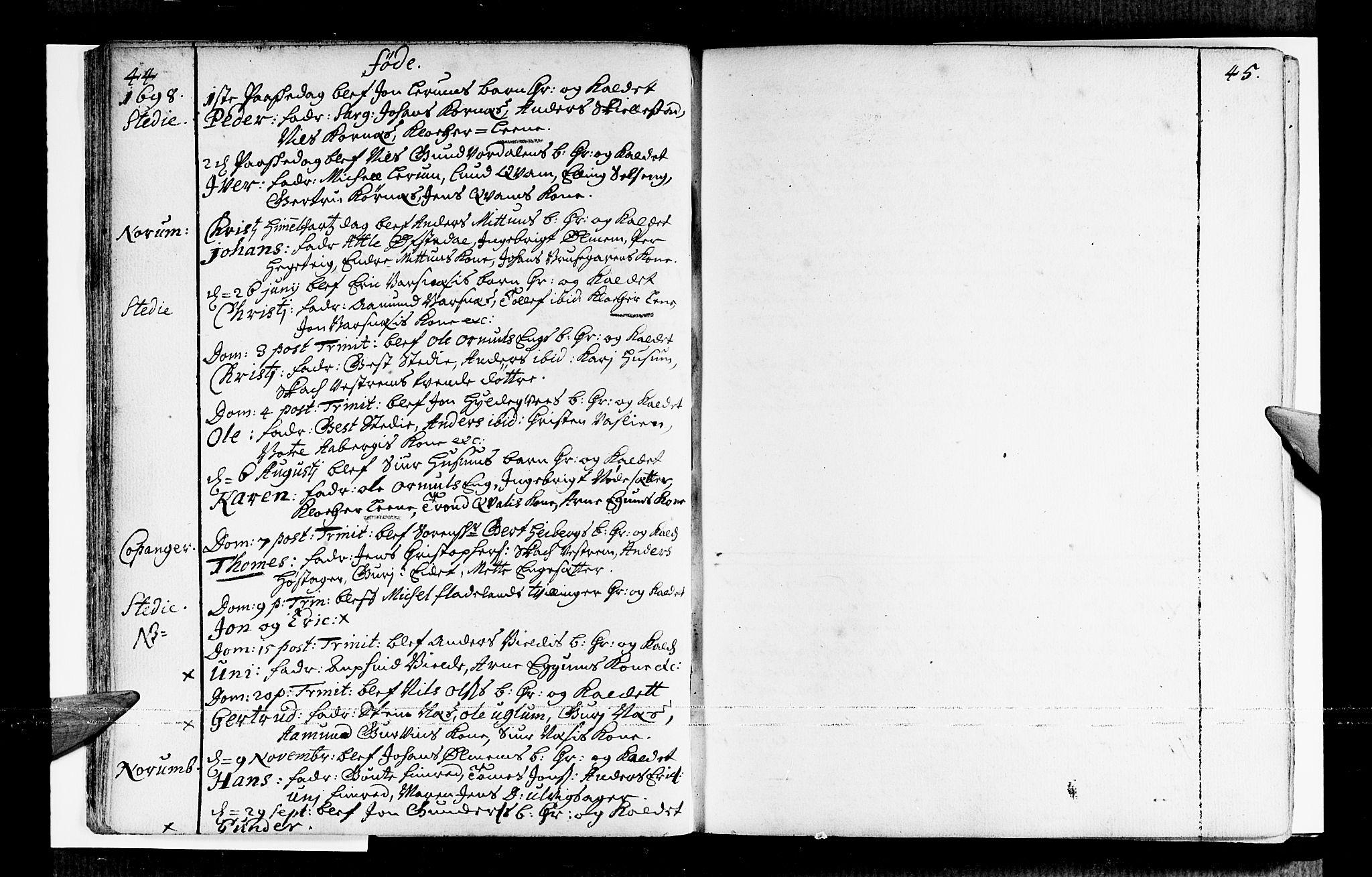 SAB, Sogndal sokneprestembete, H/Haa/Haaa/L0001: Ministerialbok nr. A 1, 1689-1713, s. 44-45