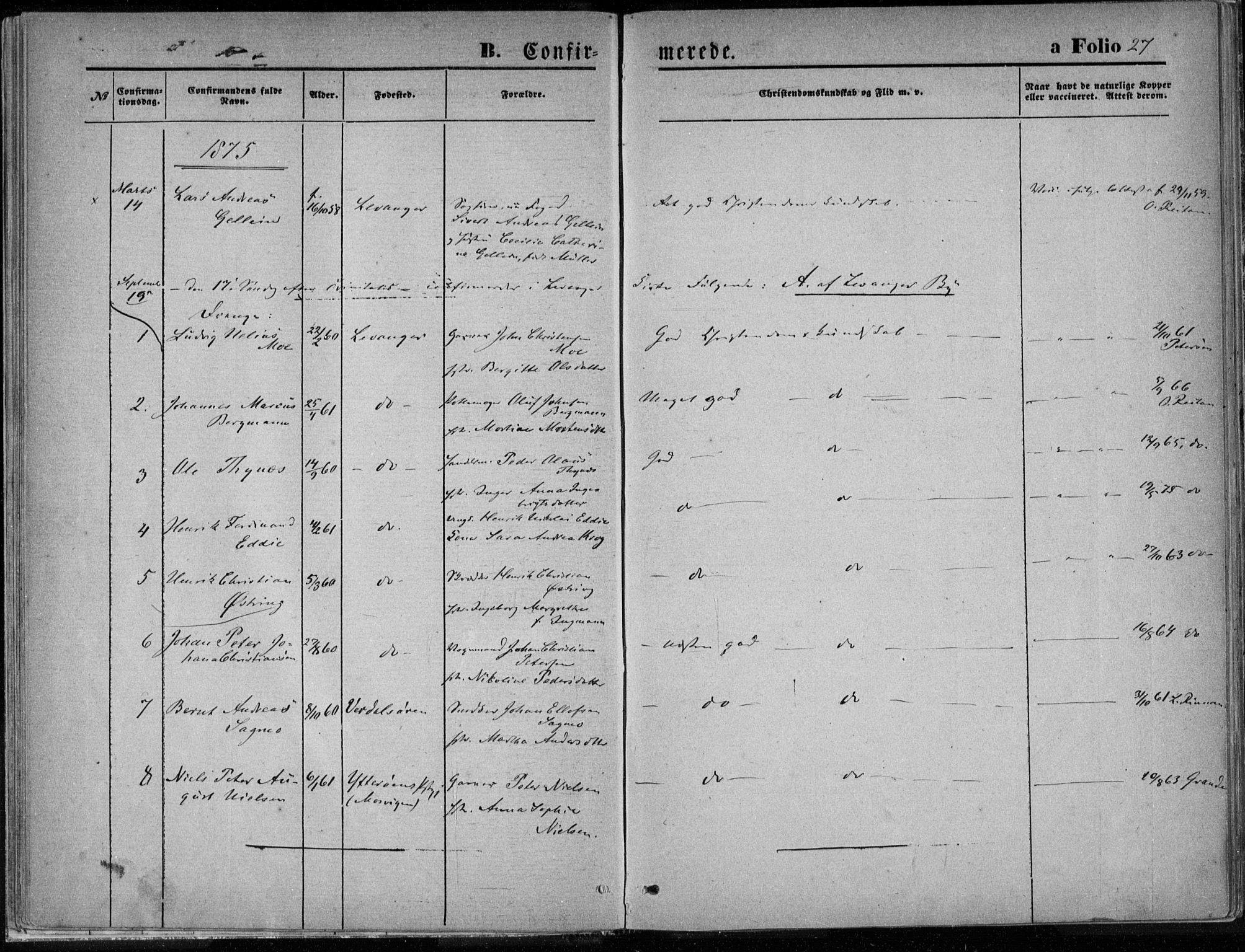 SAT, Ministerialprotokoller, klokkerbøker og fødselsregistre - Nord-Trøndelag, 720/L0187: Ministerialbok nr. 720A04 /1, 1875-1879, s. 27