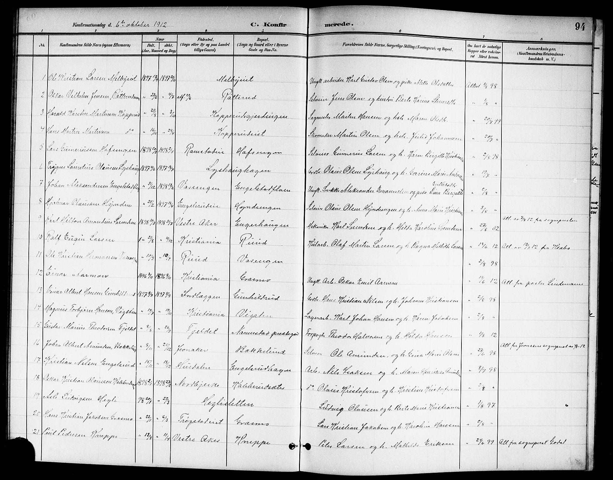 SAO, Nannestad prestekontor Kirkebøker, G/Ga/L0002: Klokkerbok nr. I 2, 1901-1913, s. 94