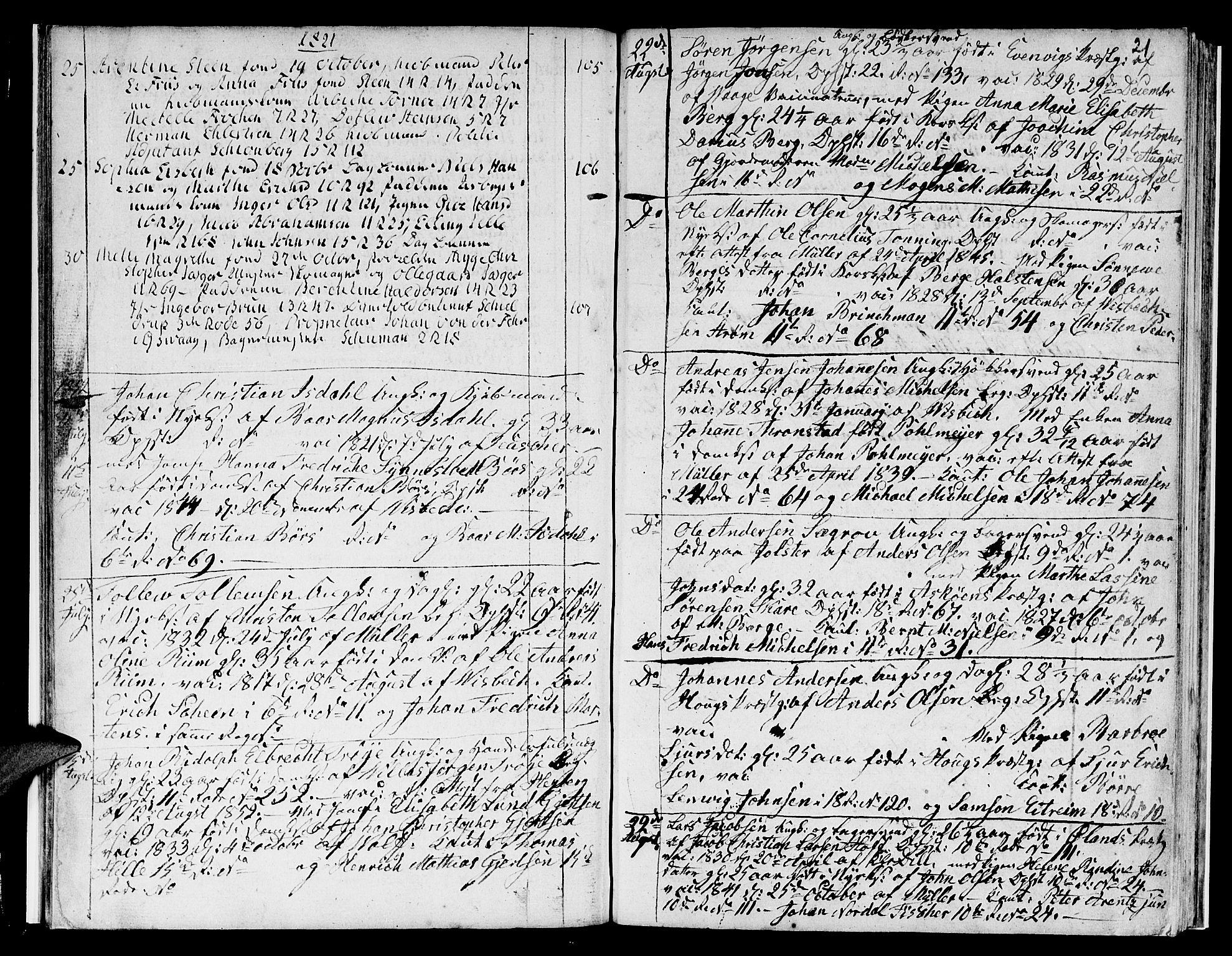 SAB, Domkirken sokneprestembete, H/Hab/L0003: Klokkerbok nr. A 3, 1820-1853, s. 21