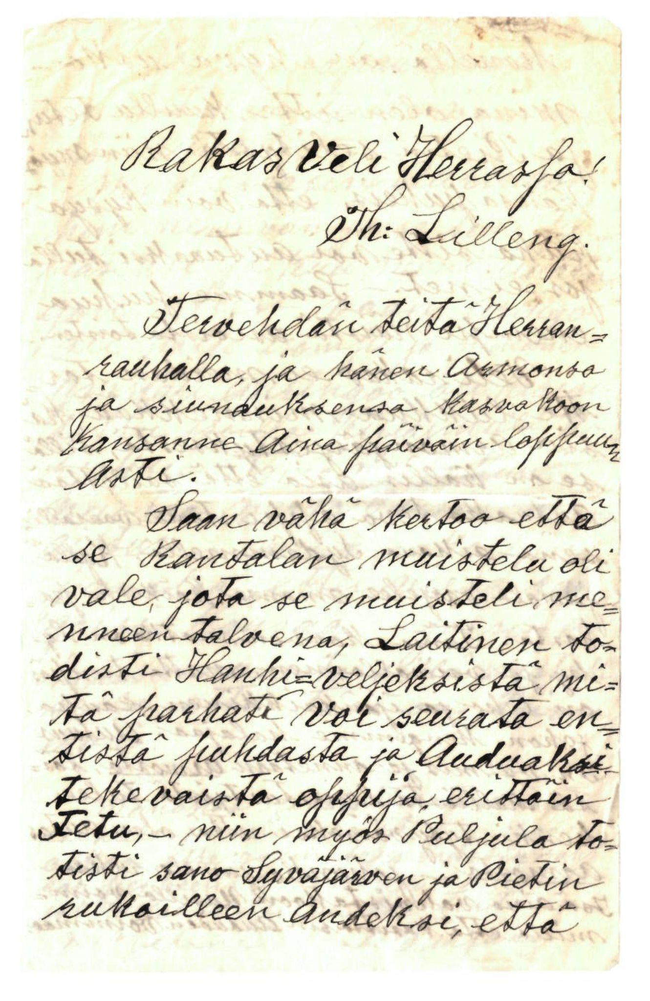 FMFB, Elise Balos brevsamling, F/Fa/L0017: Brev fra I. Syrjänen til Th. Lilleng