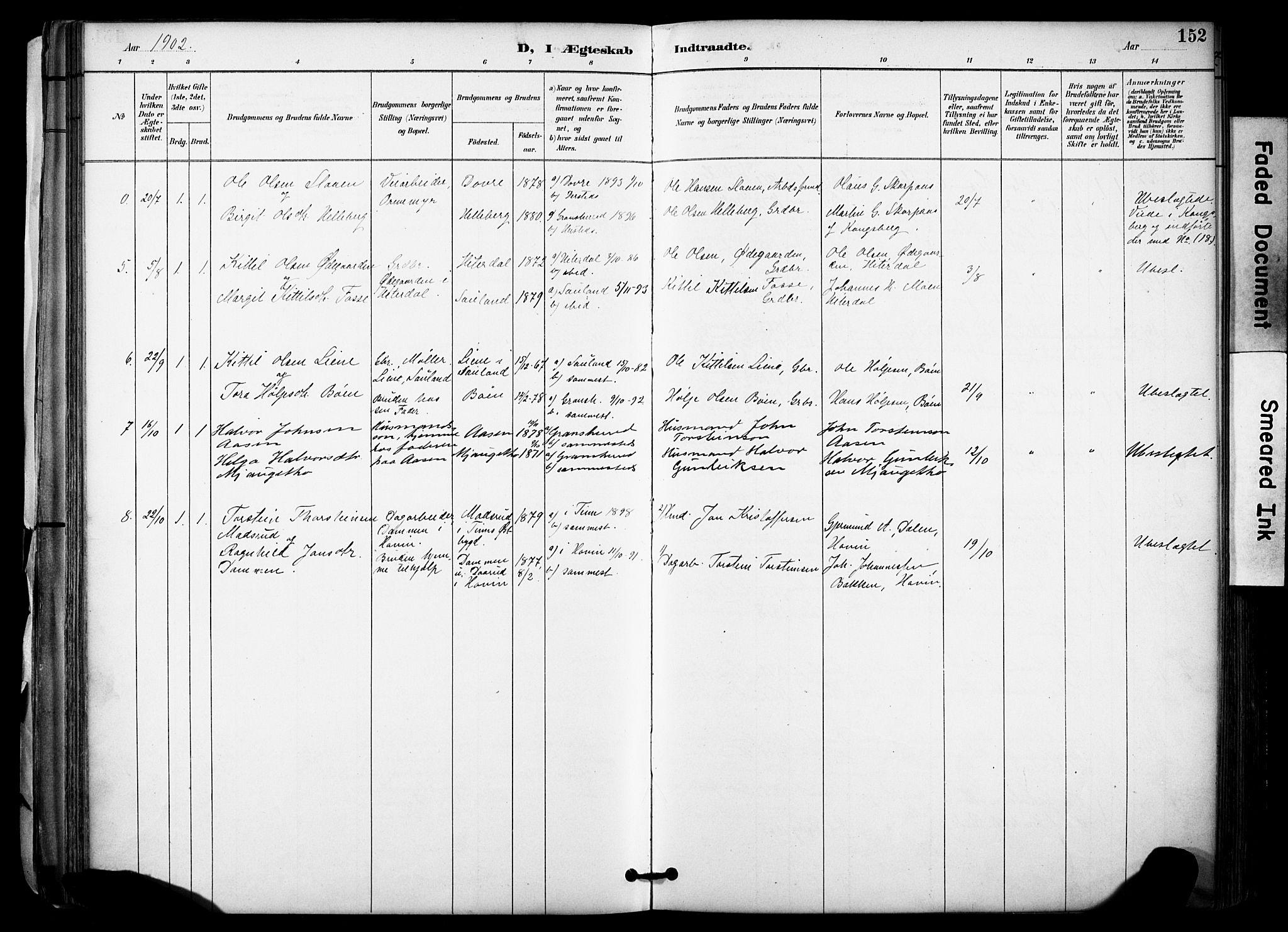 SAKO, Gransherad kirkebøker, F/Fa/L0005: Ministerialbok nr. I 5, 1887-1916, s. 152