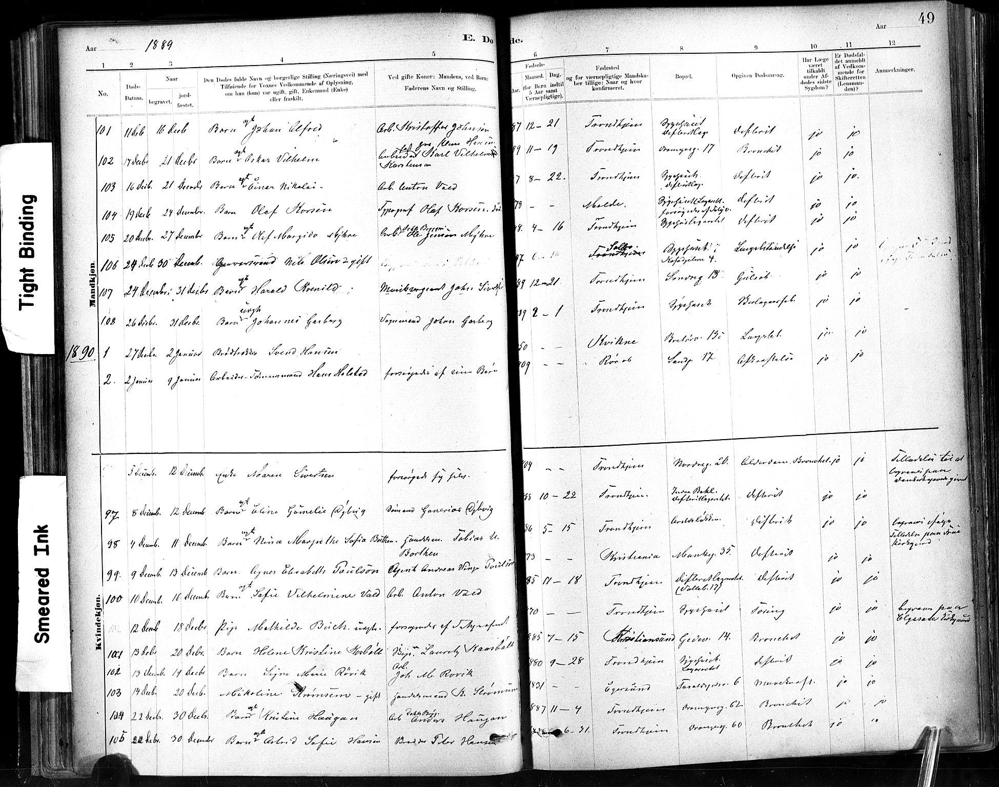 SAT, Ministerialprotokoller, klokkerbøker og fødselsregistre - Sør-Trøndelag, 602/L0120: Ministerialbok nr. 602A18, 1880-1913, s. 49