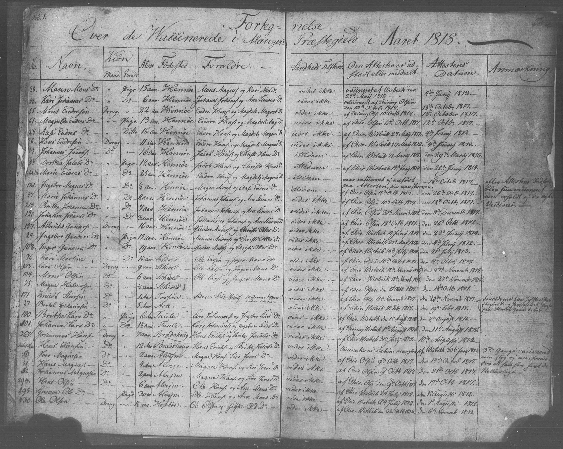 SAB, Manger sokneprestembete, H/Haa: Ministerialbok nr. A 9, 1812-1821, s. 1