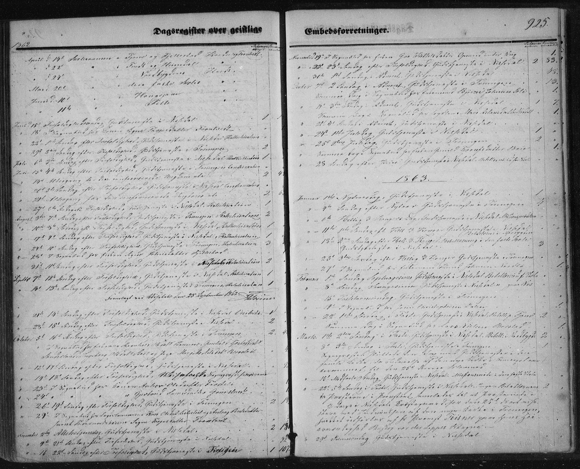 SAKO, Nissedal kirkebøker, F/Fa/L0003: Ministerialbok nr. I 3, 1846-1870, s. 924-925