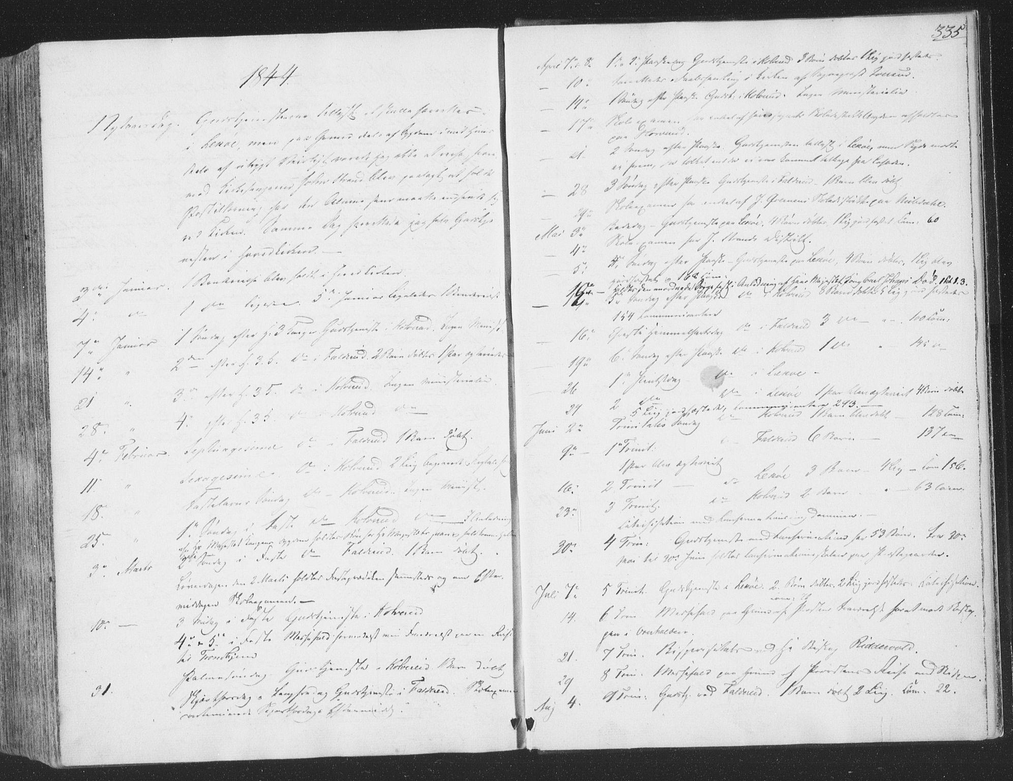 SAT, Ministerialprotokoller, klokkerbøker og fødselsregistre - Nord-Trøndelag, 780/L0639: Ministerialbok nr. 780A04, 1830-1844, s. 335