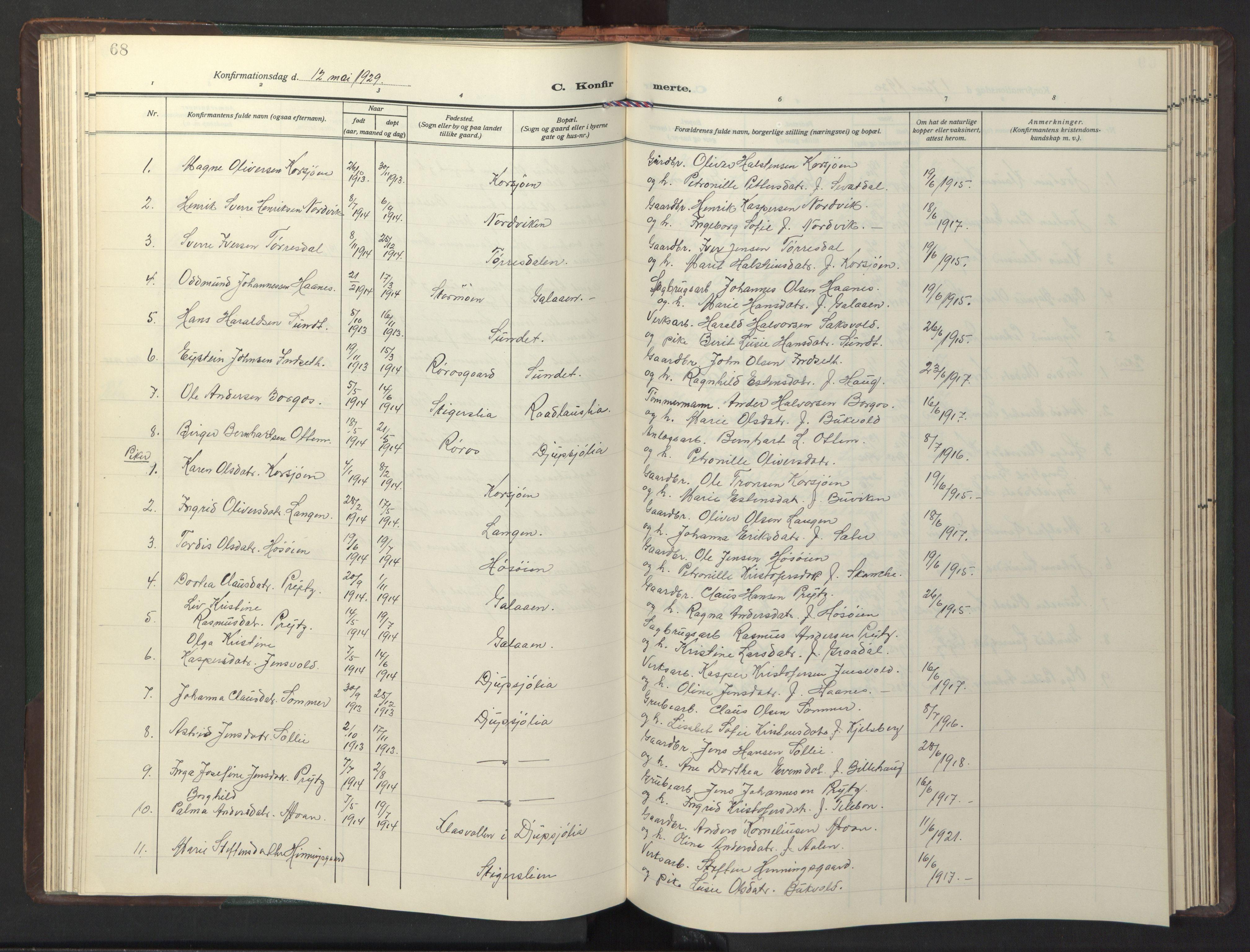 SAT, Ministerialprotokoller, klokkerbøker og fødselsregistre - Sør-Trøndelag, 681/L0944: Klokkerbok nr. 681C08, 1926-1954, s. 68