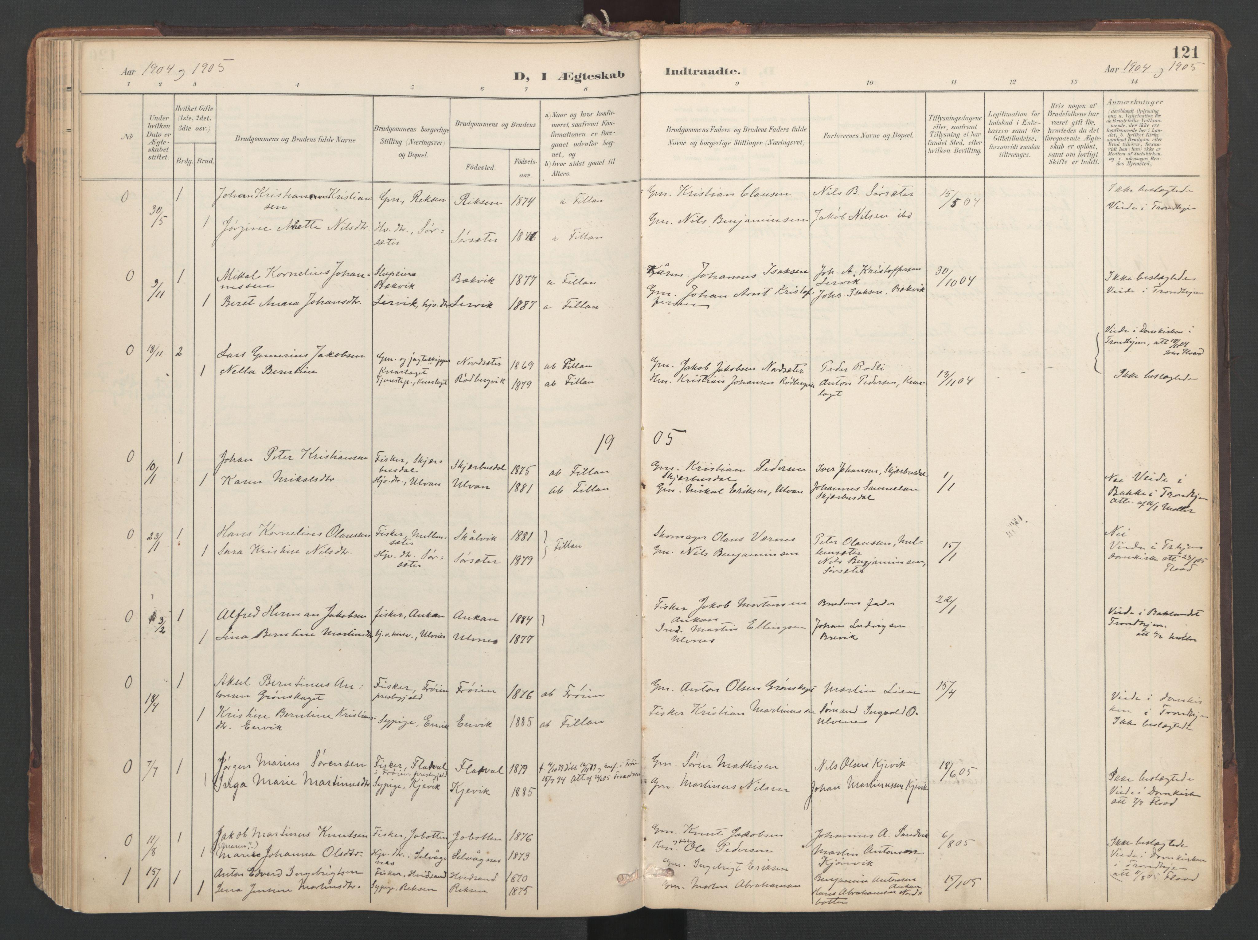 SAT, Ministerialprotokoller, klokkerbøker og fødselsregistre - Sør-Trøndelag, 638/L0568: Ministerialbok nr. 638A01, 1901-1916, s. 121
