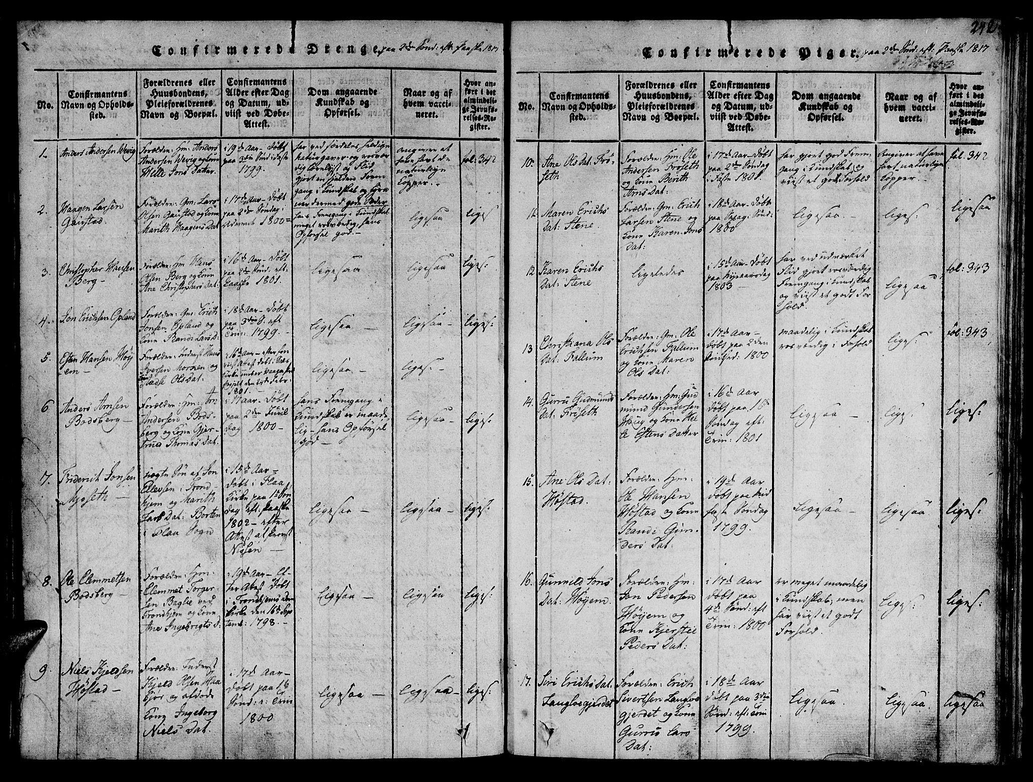 SAT, Ministerialprotokoller, klokkerbøker og fødselsregistre - Sør-Trøndelag, 612/L0372: Ministerialbok nr. 612A06 /1, 1816-1828, s. 242