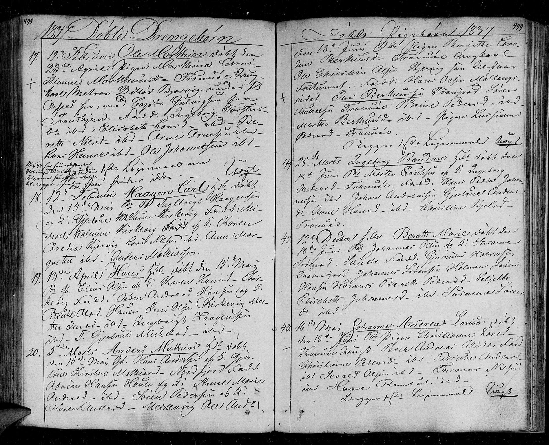 SATØ, Tromsø sokneprestkontor/stiftsprosti/domprosti, G/Ga/L0008kirke: Ministerialbok nr. 8, 1829-1837, s. 498-499
