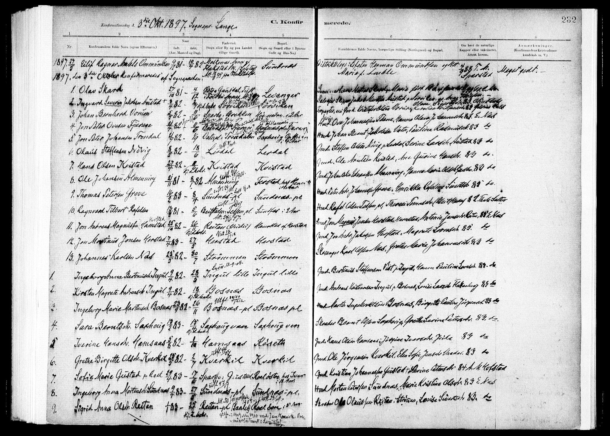 SAT, Ministerialprotokoller, klokkerbøker og fødselsregistre - Nord-Trøndelag, 730/L0285: Ministerialbok nr. 730A10, 1879-1914, s. 232