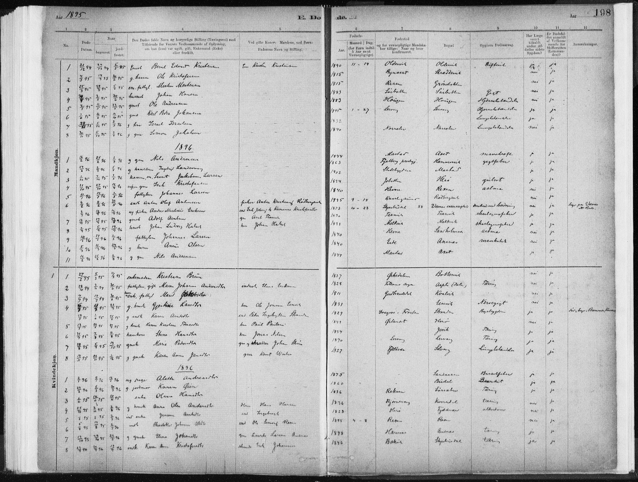 SAT, Ministerialprotokoller, klokkerbøker og fødselsregistre - Sør-Trøndelag, 637/L0558: Ministerialbok nr. 637A01, 1882-1899, s. 198