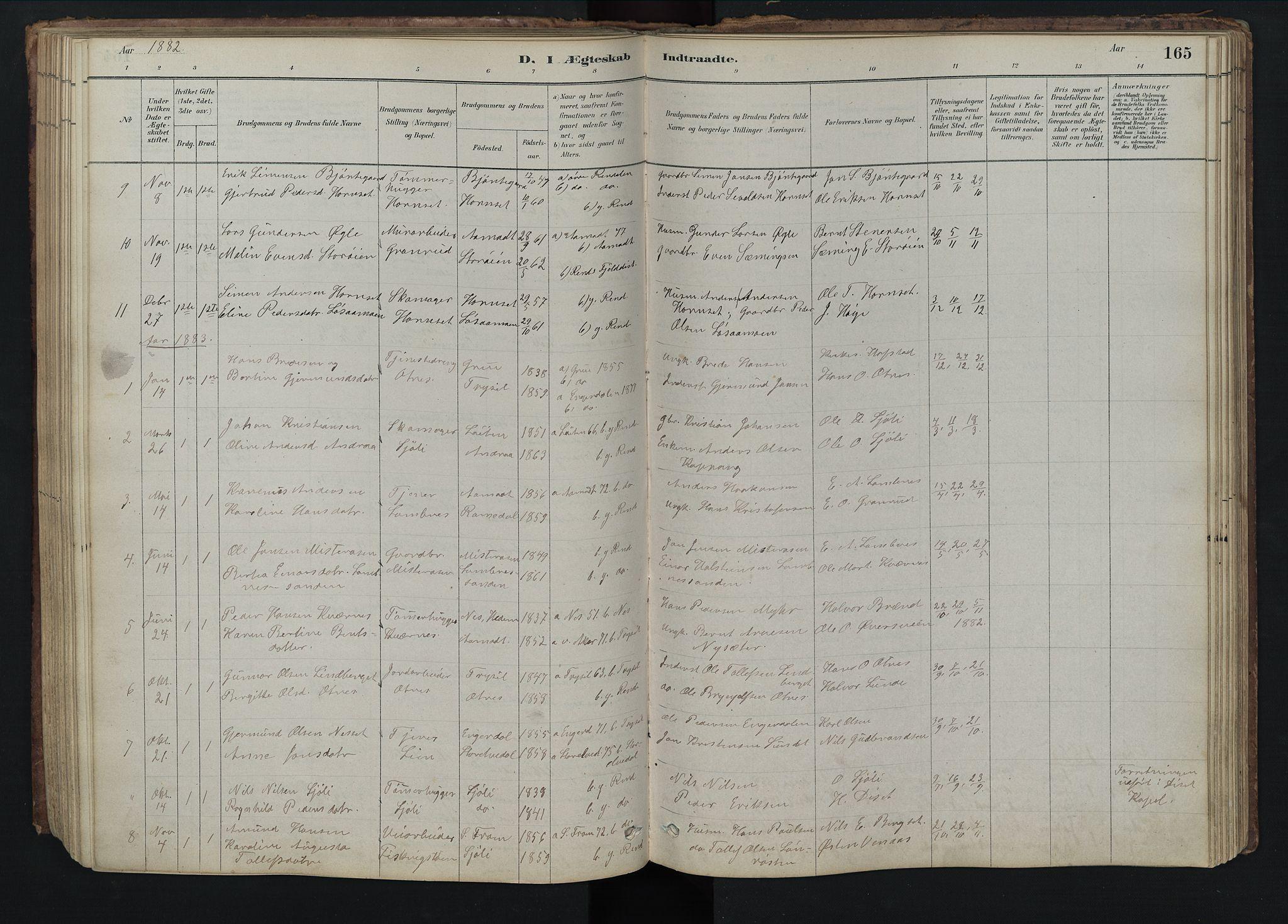 SAH, Rendalen prestekontor, H/Ha/Hab/L0009: Klokkerbok nr. 9, 1879-1902, s. 165