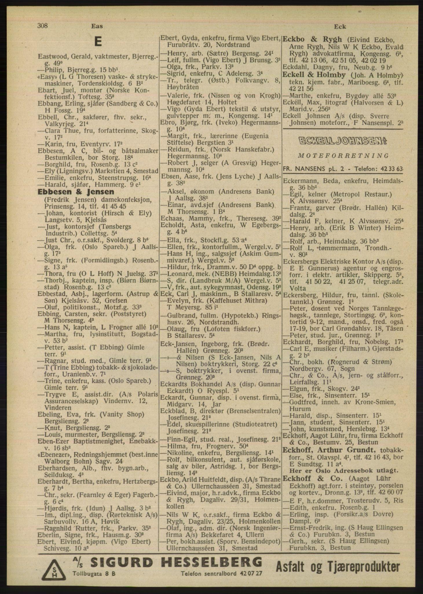 PUBL, Kristiania/Oslo adressebok, 1948, s. 308