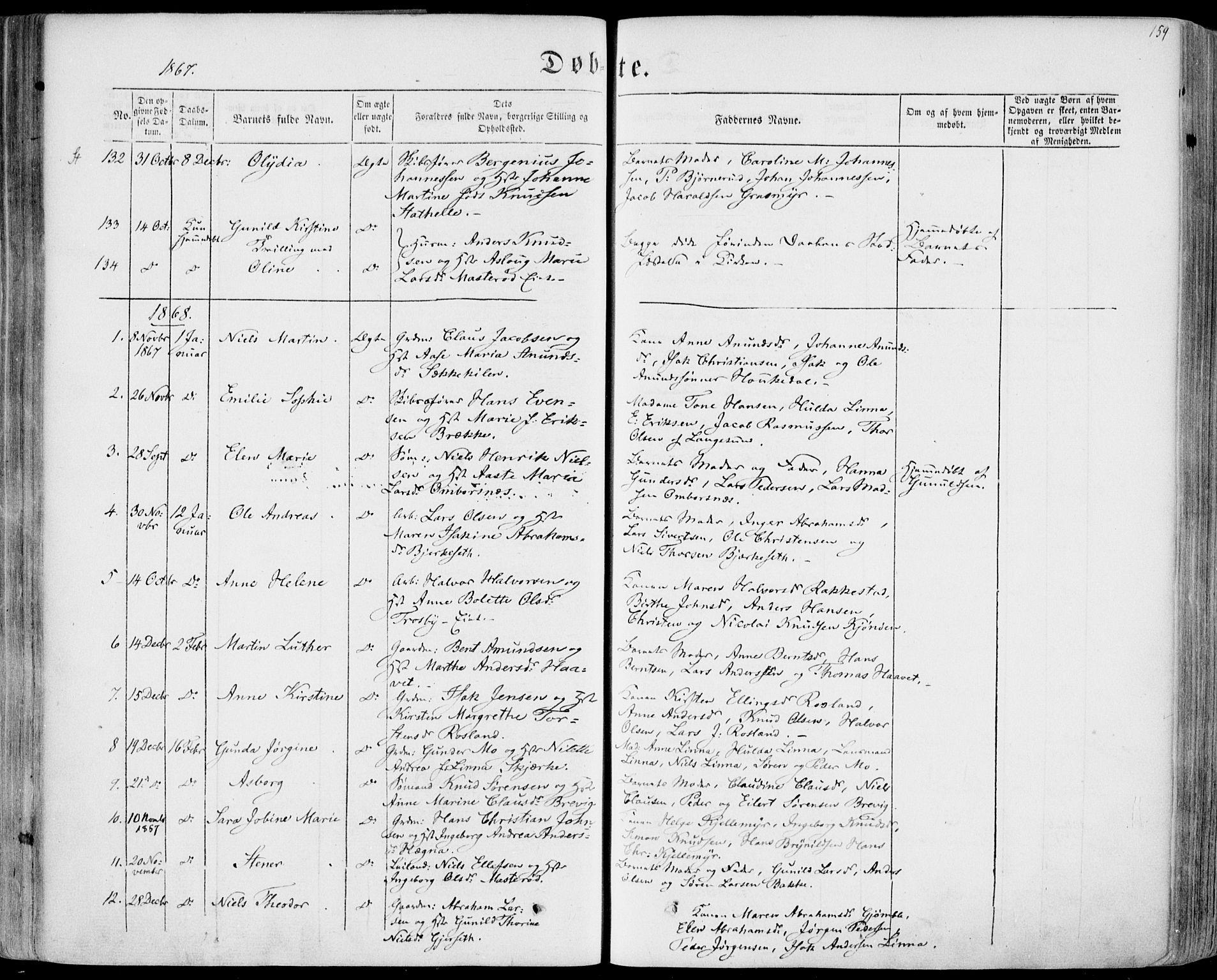 SAKO, Bamble kirkebøker, F/Fa/L0005: Ministerialbok nr. I 5, 1854-1869, s. 159