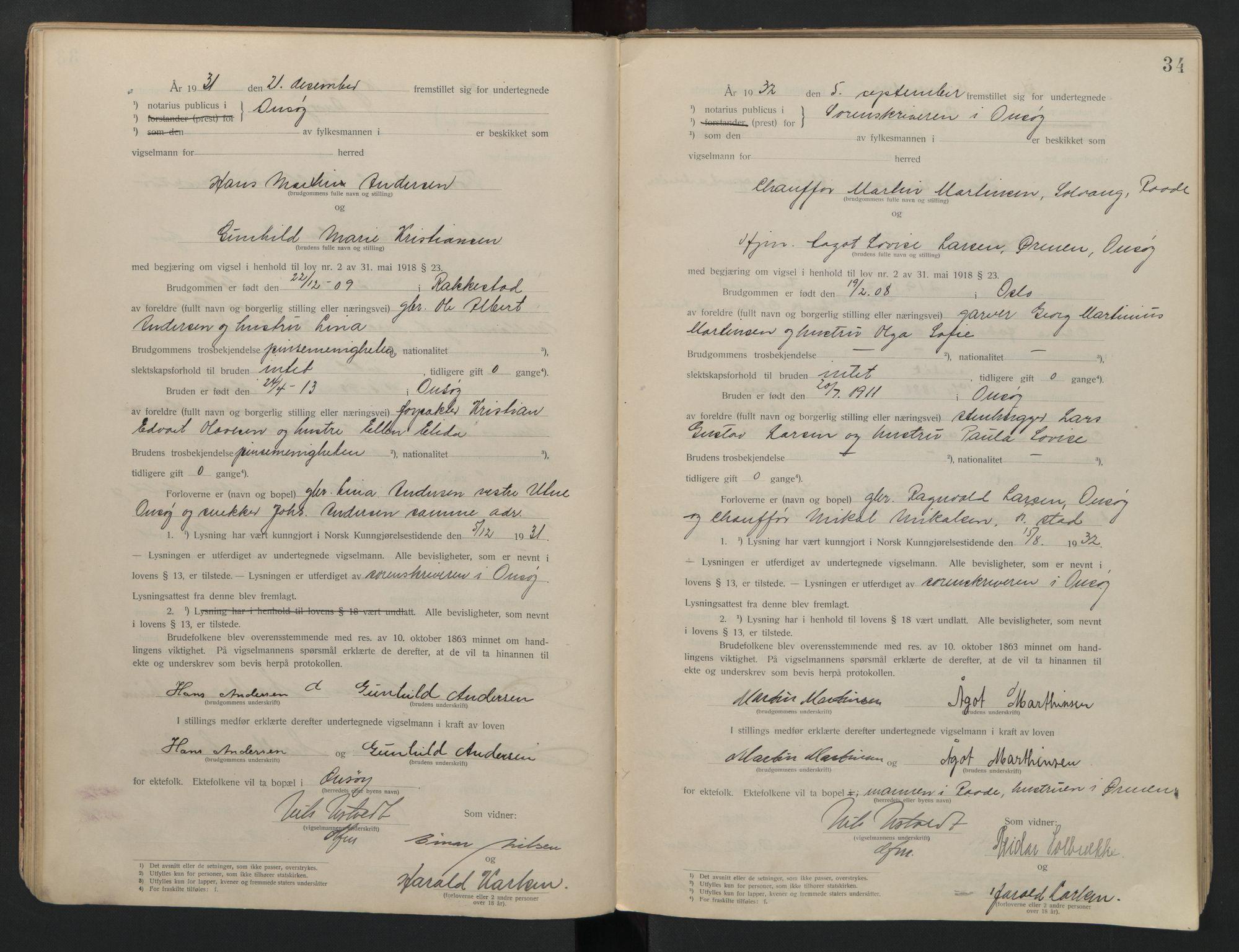 SAO, Onsøy sorenskriveri, L/La/L0001: Vigselsbok, 1920-1942, s. 34