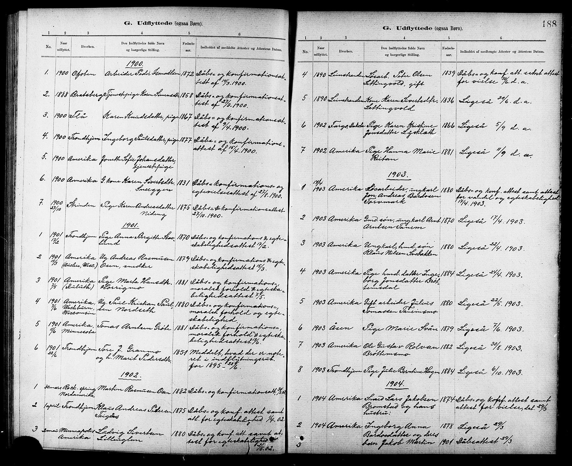 SAT, Ministerialprotokoller, klokkerbøker og fødselsregistre - Sør-Trøndelag, 618/L0452: Klokkerbok nr. 618C03, 1884-1906, s. 188