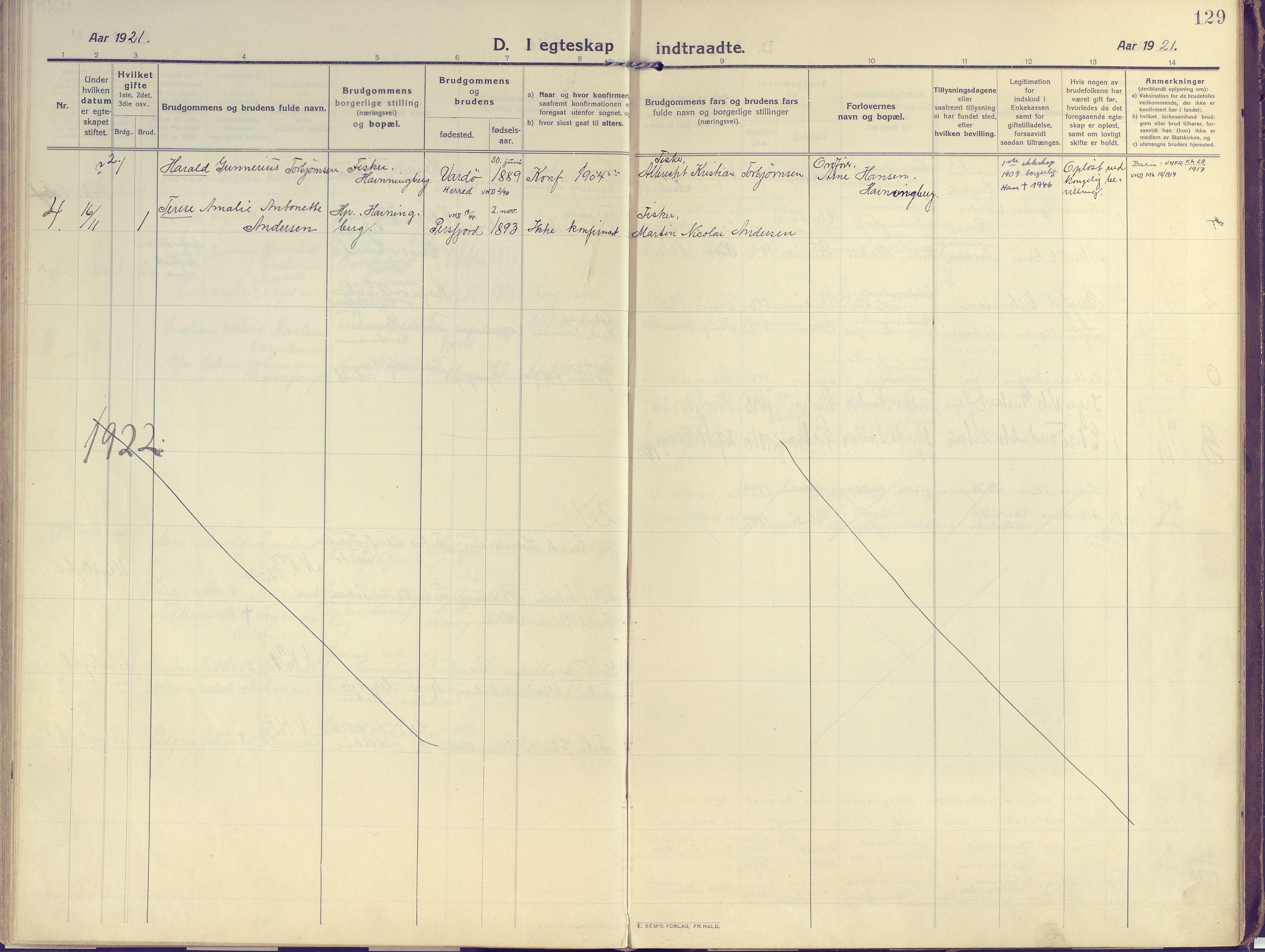 SATØ, Vardø sokneprestkontor, H/Ha/L0013kirke: Ministerialbok nr. 13, 1912-1928, s. 129