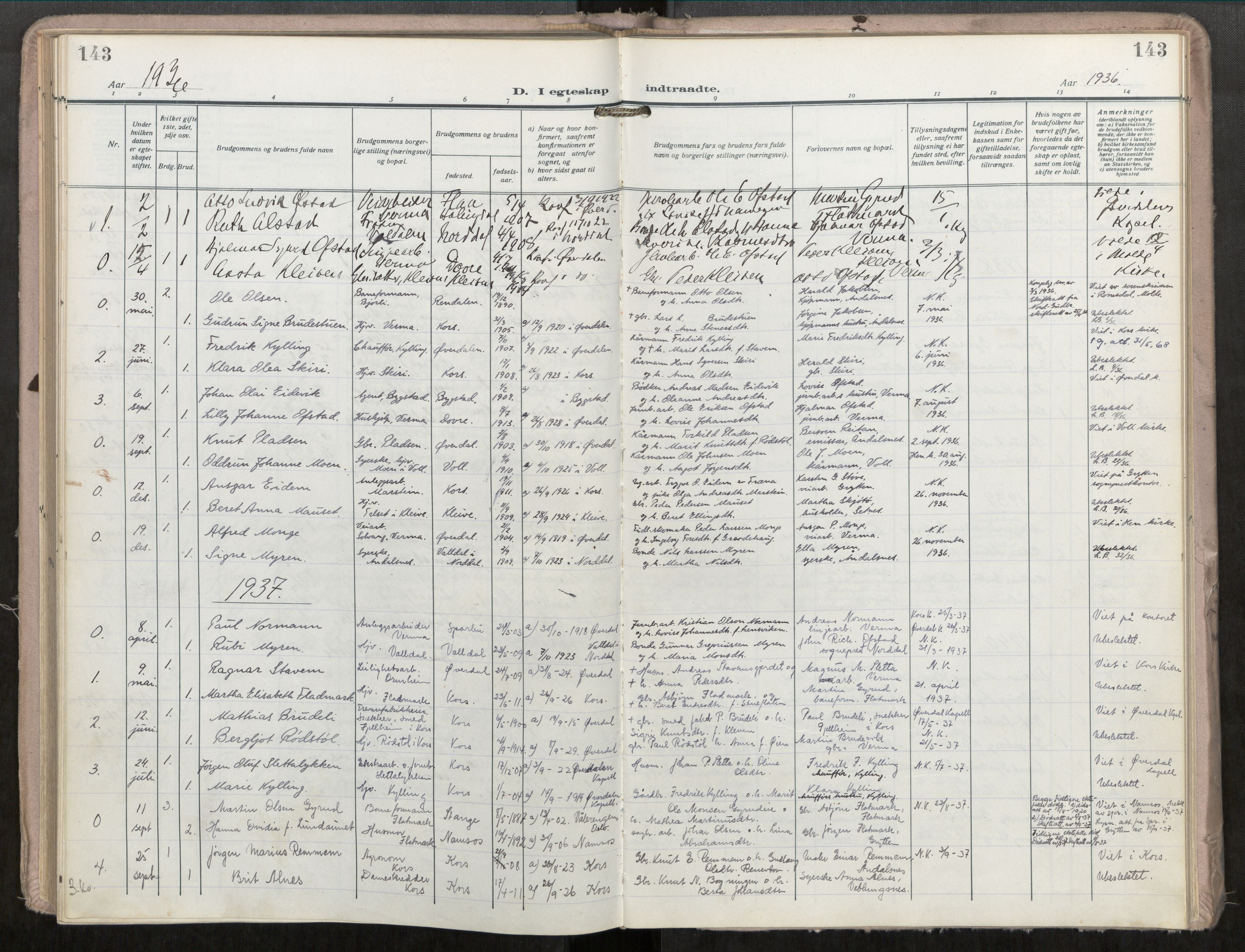 SAT, Grytten sokneprestkontor, Ministerialbok nr. 546A04, 1919-1956, s. 143
