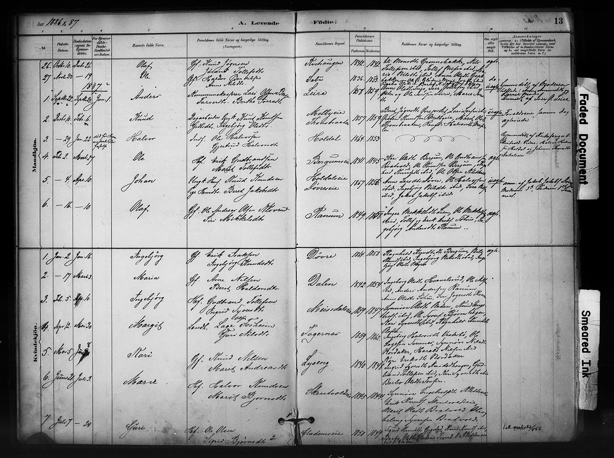 SAH, Nord-Aurdal prestekontor, Ministerialbok nr. 12, 1883-1895, s. 13