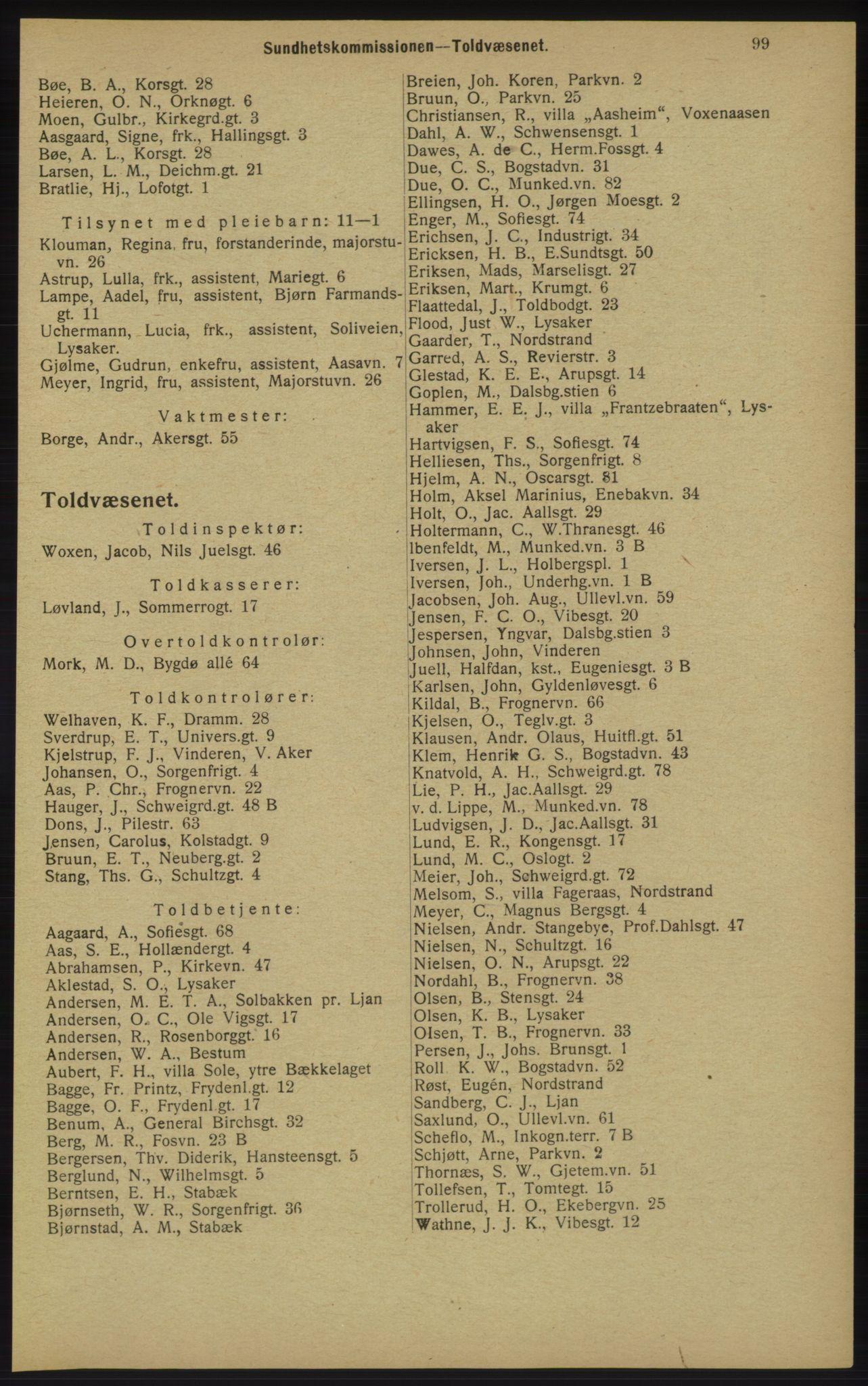 RA, Kristiania adressebok (publikasjon)*, 1913, s. 99
