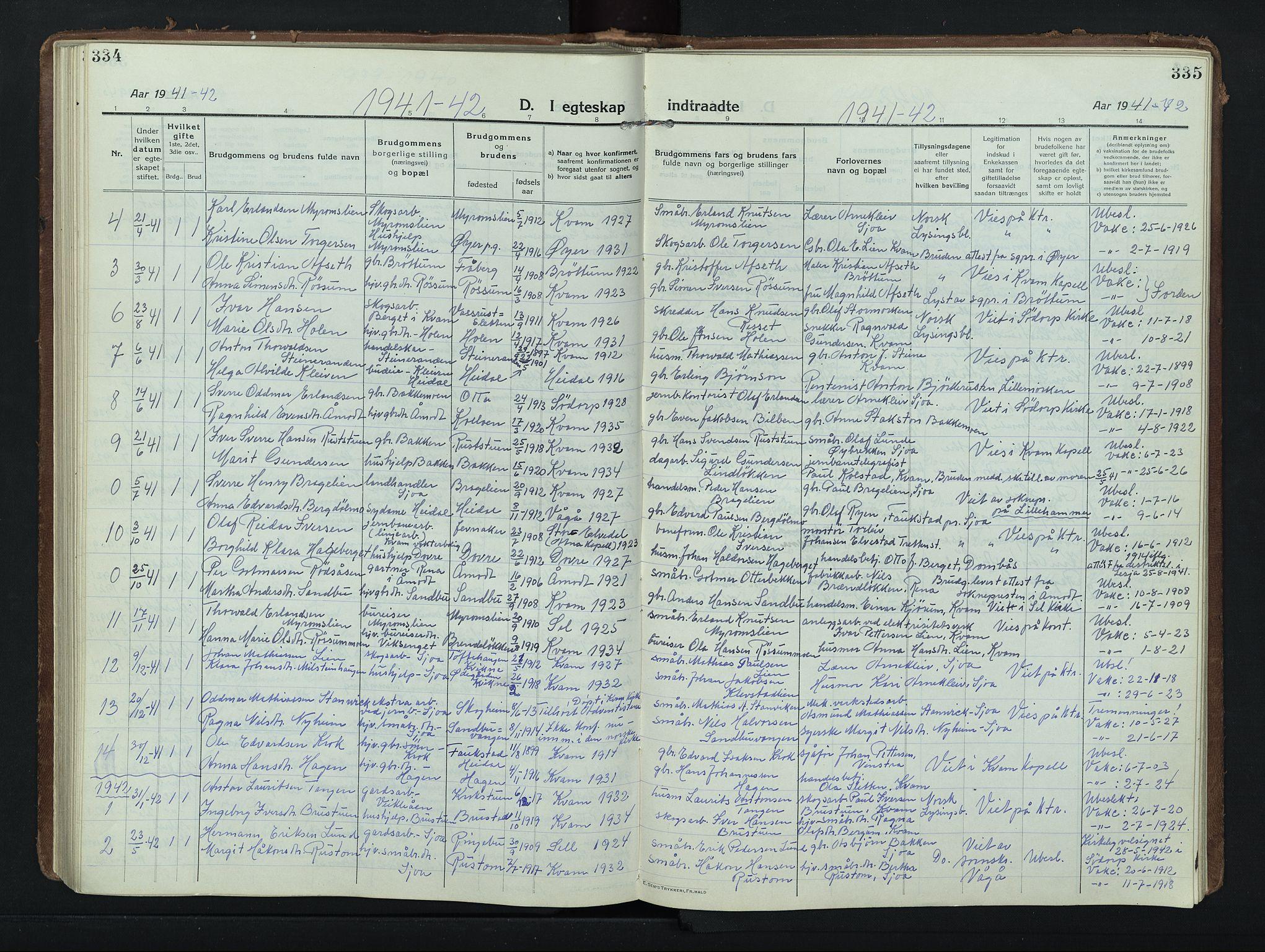 SAH, Nord-Fron prestekontor, Klokkerbok nr. 8, 1915-1948, s. 334-335
