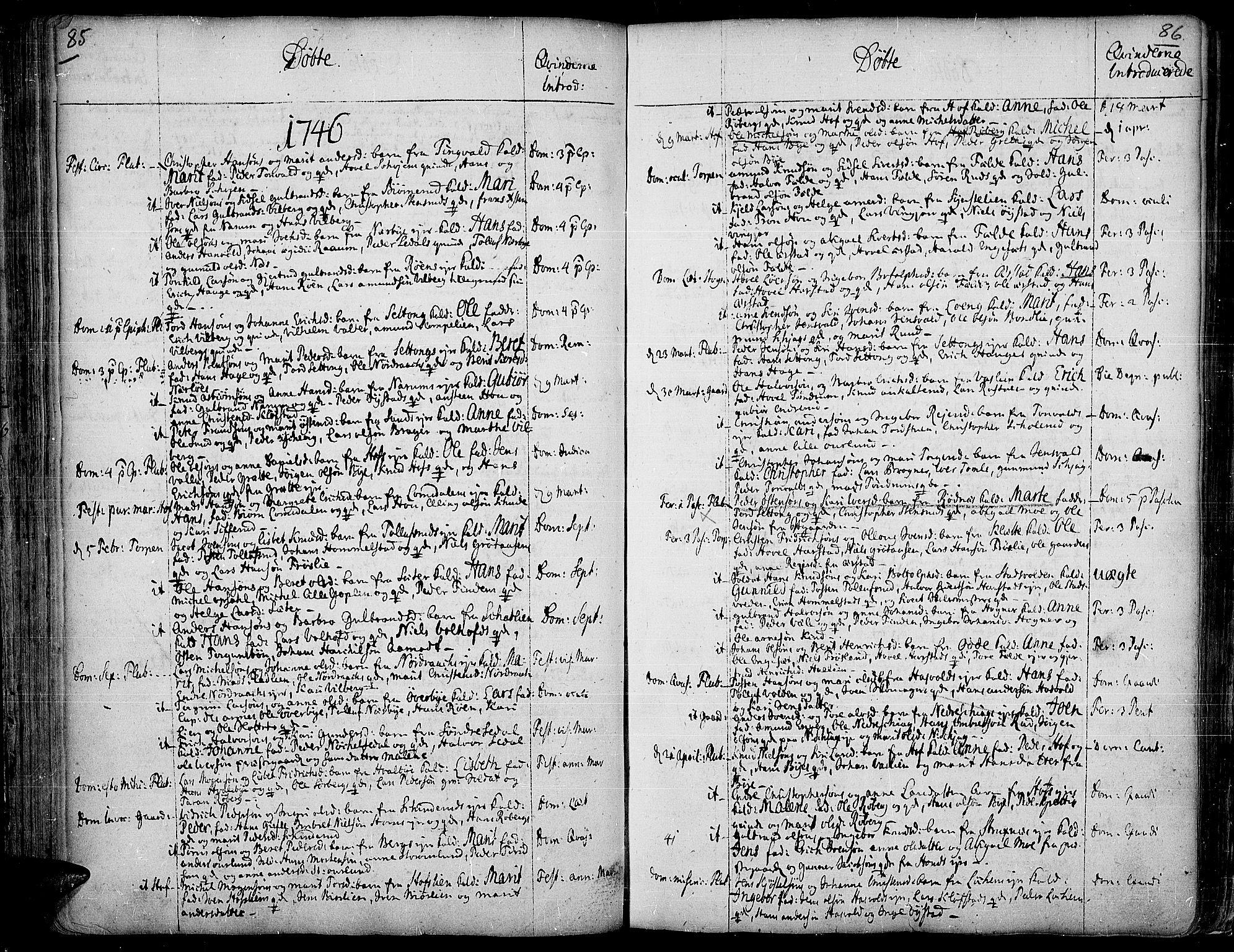 SAH, Land prestekontor, Ministerialbok nr. 2, 1733-1764, s. 85-86
