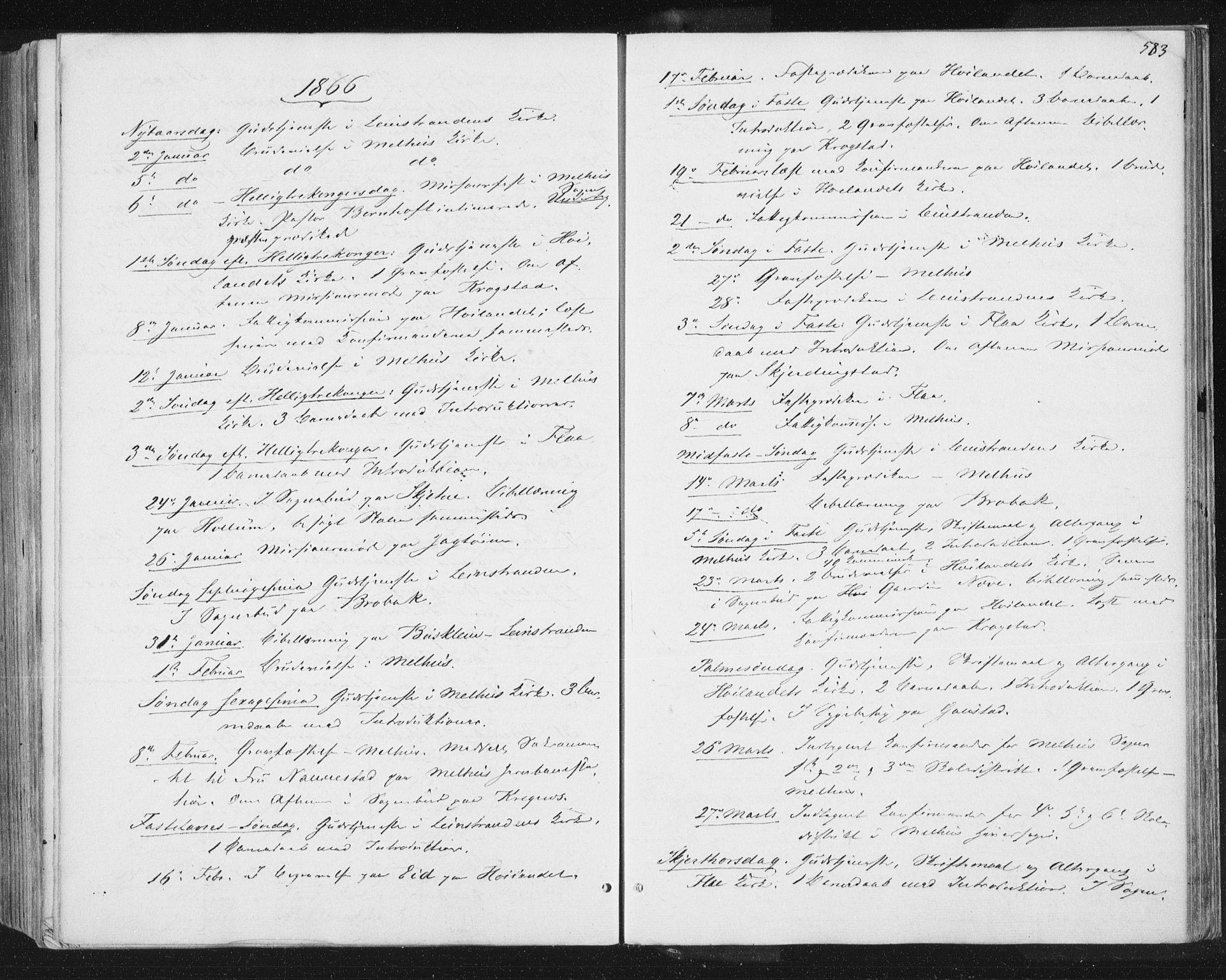 SAT, Ministerialprotokoller, klokkerbøker og fødselsregistre - Sør-Trøndelag, 691/L1077: Ministerialbok nr. 691A09, 1862-1873, s. 583