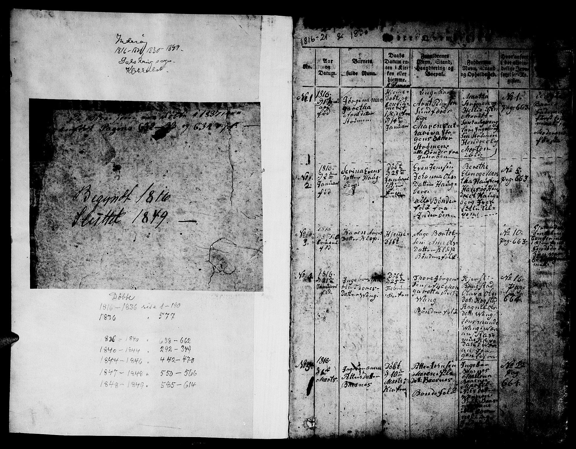 SAT, Ministerialprotokoller, klokkerbøker og fødselsregistre - Nord-Trøndelag, 730/L0298: Klokkerbok nr. 730C01, 1816-1849, s. 1