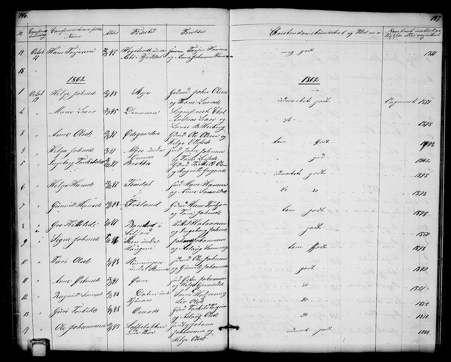 SAKO, Hjartdal kirkebøker, G/Gb/L0002: Klokkerbok nr. II 2, 1854-1884, s. 146-147