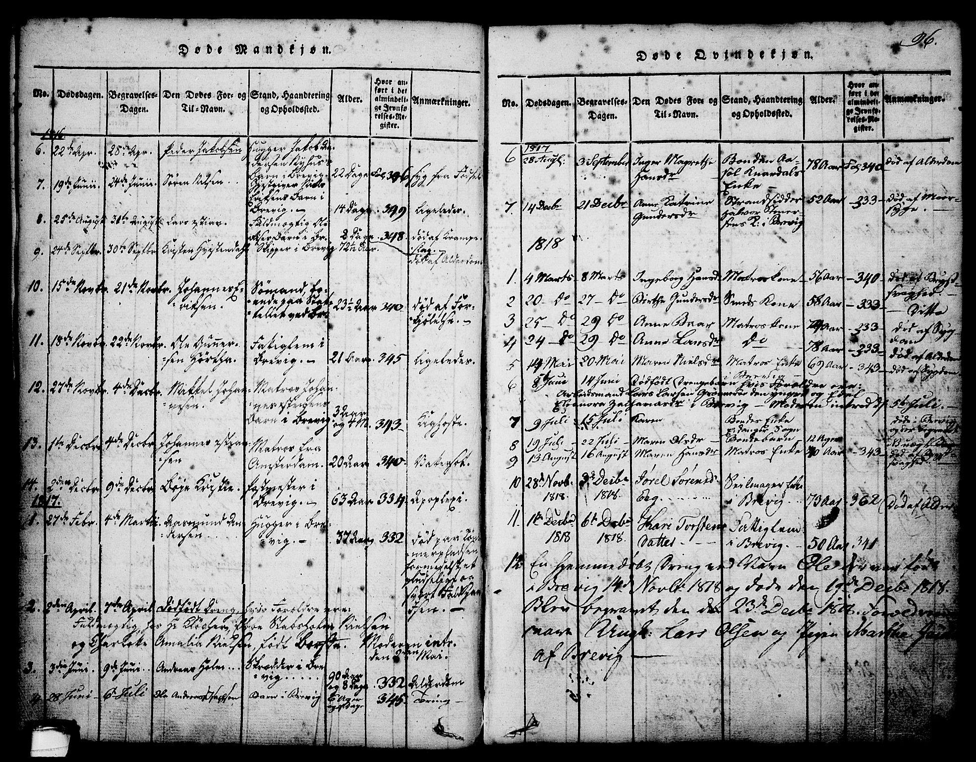 SAKO, Brevik kirkebøker, G/Ga/L0001: Klokkerbok nr. 1, 1814-1845, s. 96