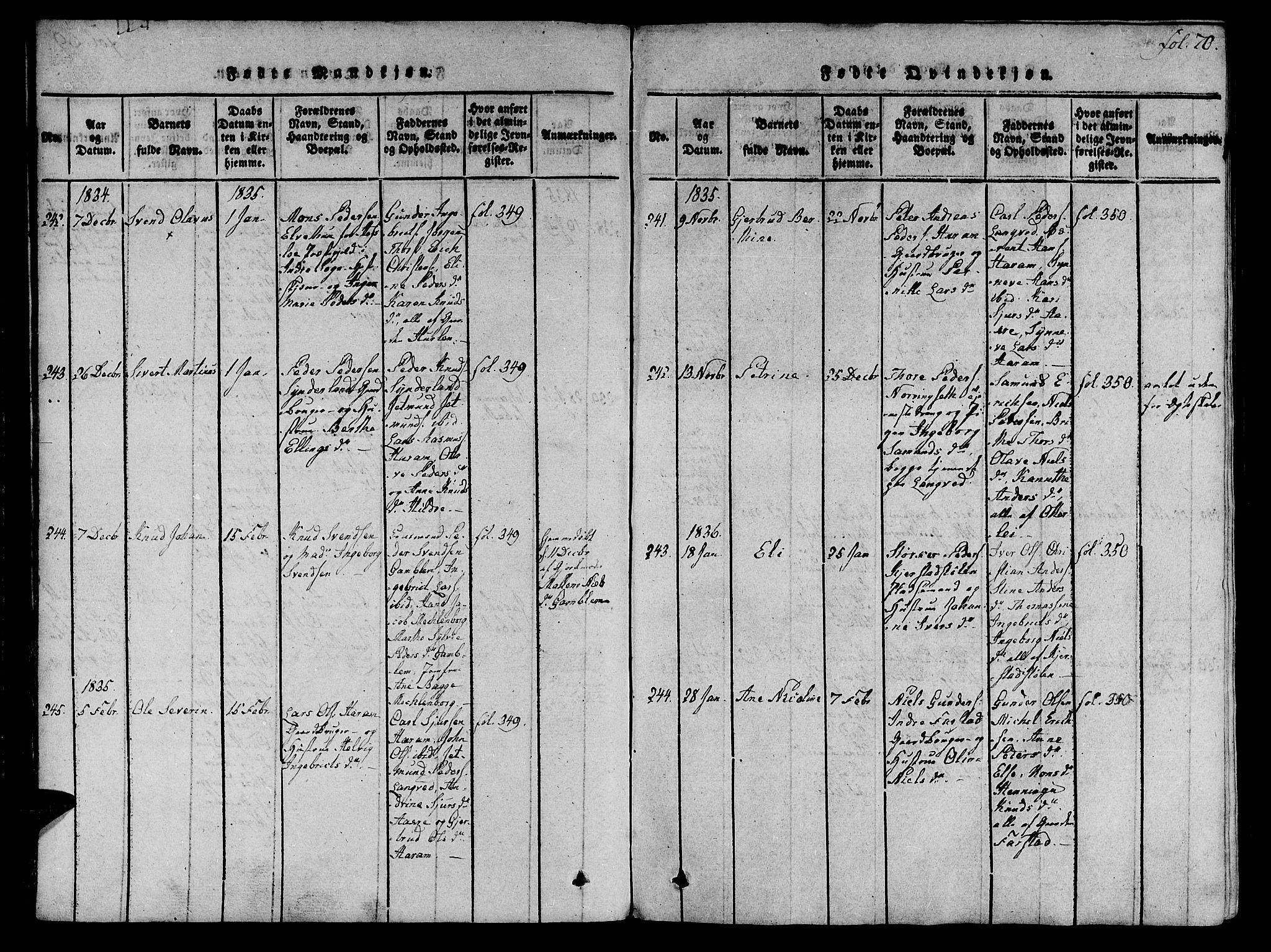 SAT, Ministerialprotokoller, klokkerbøker og fødselsregistre - Møre og Romsdal, 536/L0495: Ministerialbok nr. 536A04, 1818-1847, s. 70