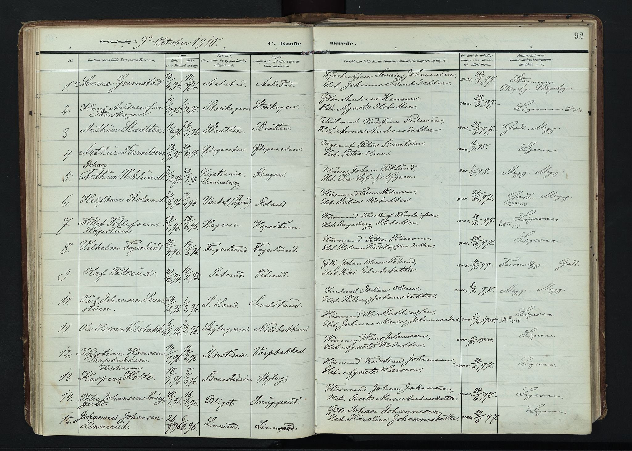 SAH, Vardal prestekontor, H/Ha/Haa/L0020: Ministerialbok nr. 20, 1907-1921, s. 92