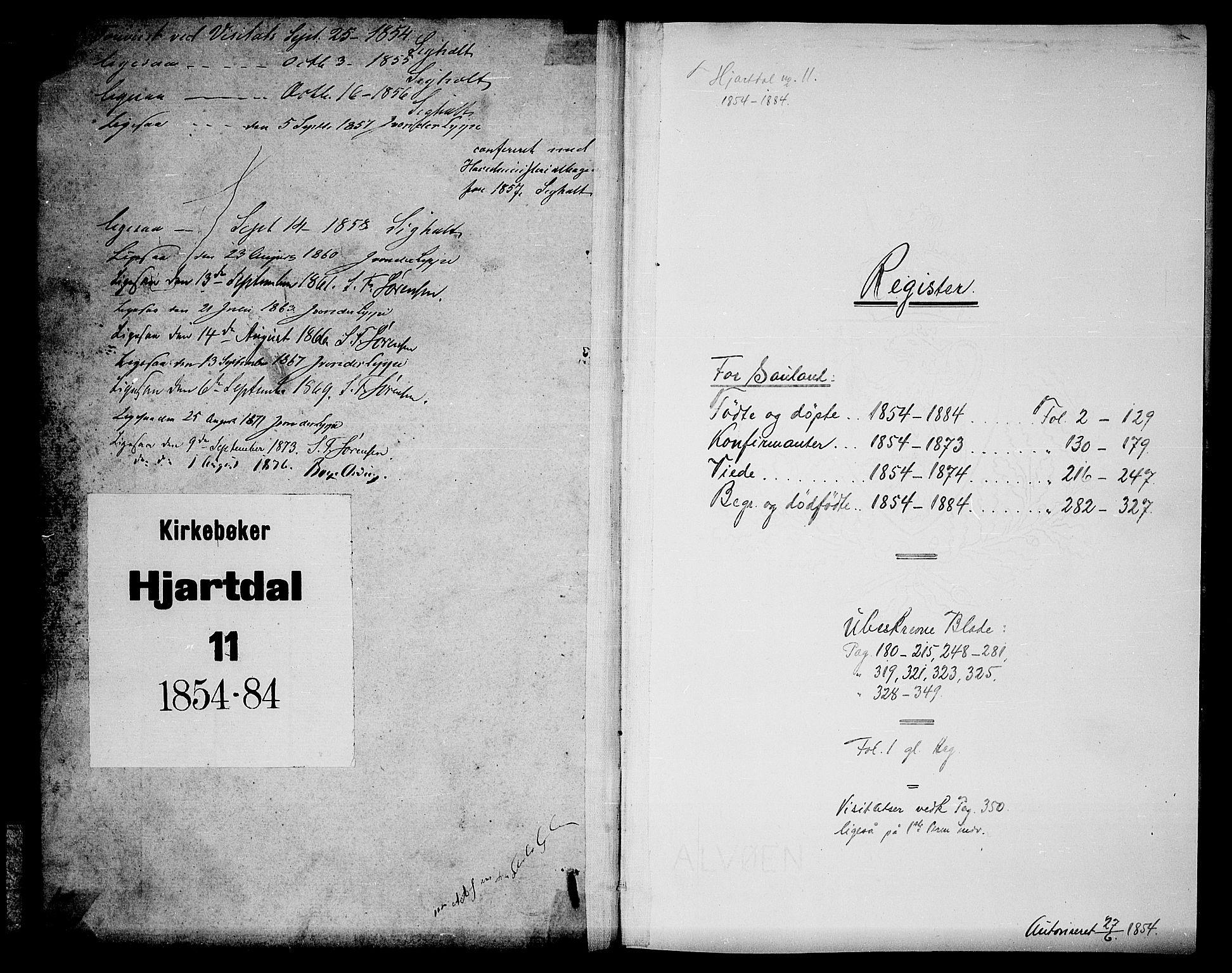 SAKO, Hjartdal kirkebøker, G/Gb/L0002: Klokkerbok nr. II 2, 1854-1884