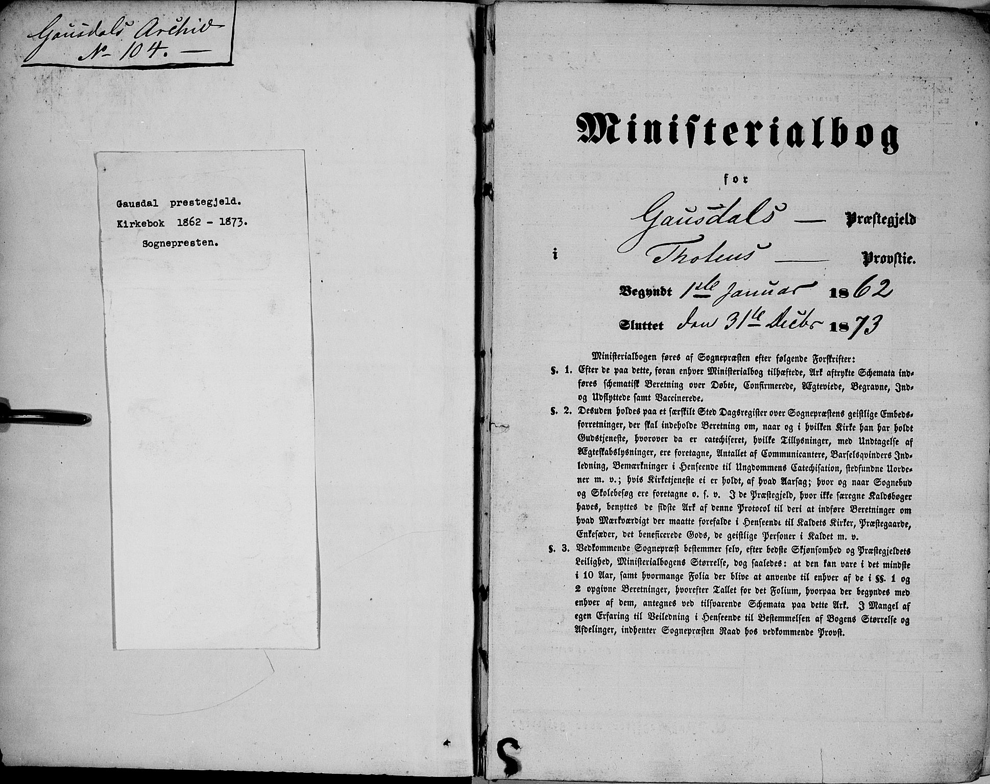 SAH, Gausdal prestekontor, Ministerialbok nr. 9, 1862-1873