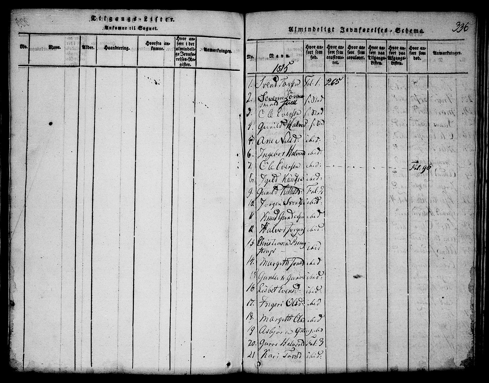 SAKO, Seljord kirkebøker, F/Fa/L0010: Ministerialbok nr. I 10, 1815-1831, s. 336