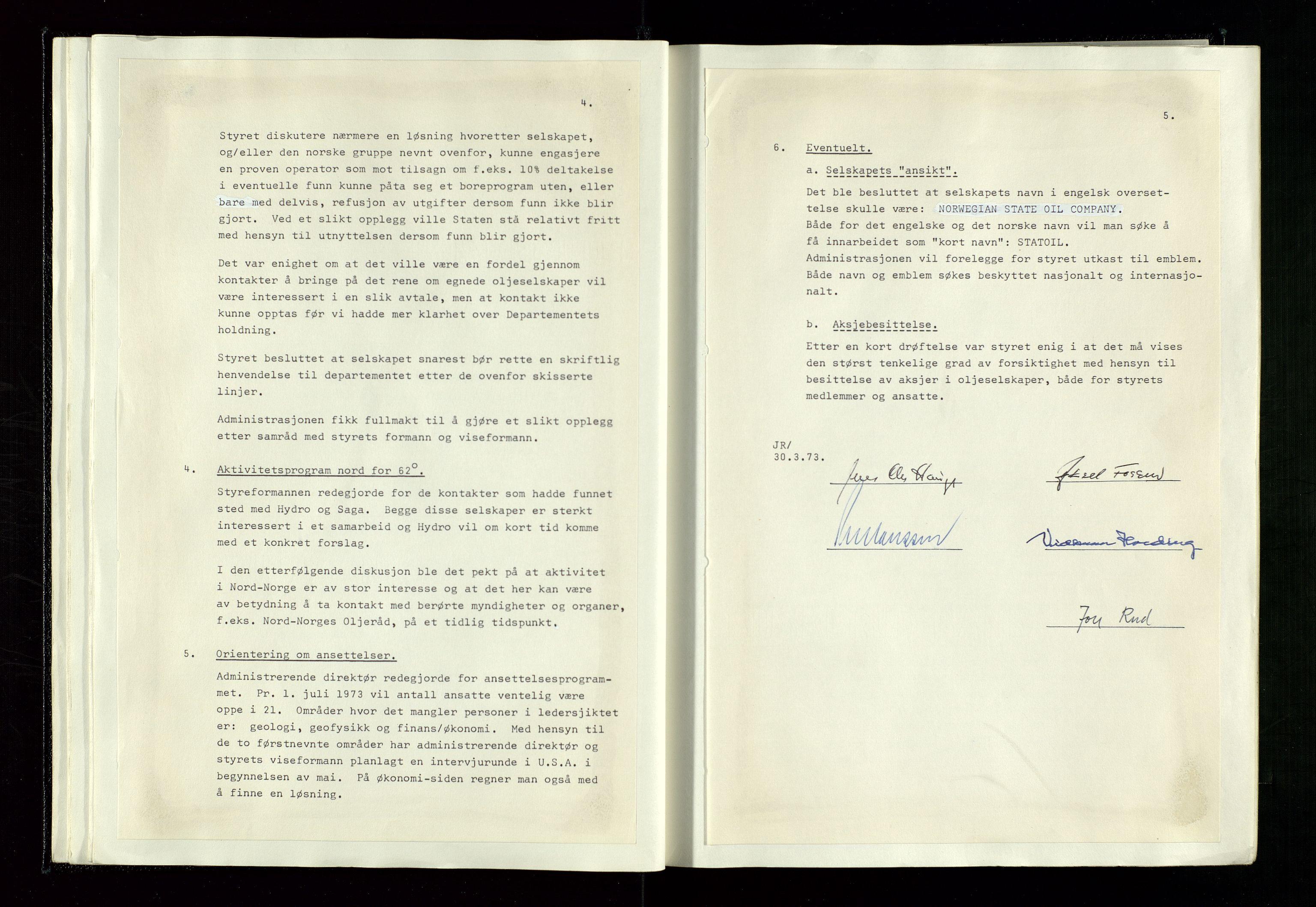 SAST, Pa 1339 - Statoil ASA, A/Ab/Aba/L0001: Styremøteprotokoller, 05.10.1972 til 14.12.1978, 1972-1978, s. 24
