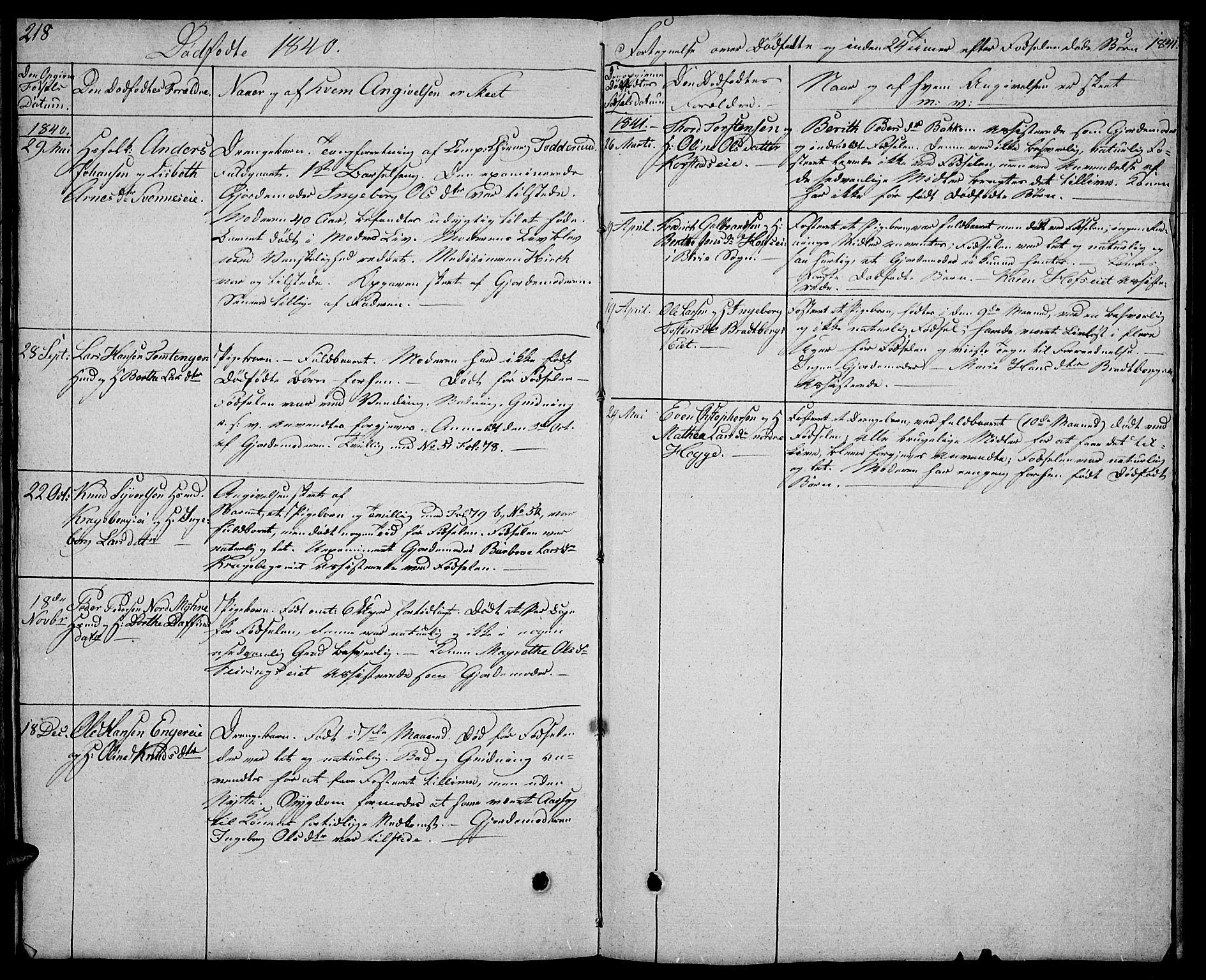 SAH, Biri prestekontor, Klokkerbok nr. 2, 1828-1842, s. 218