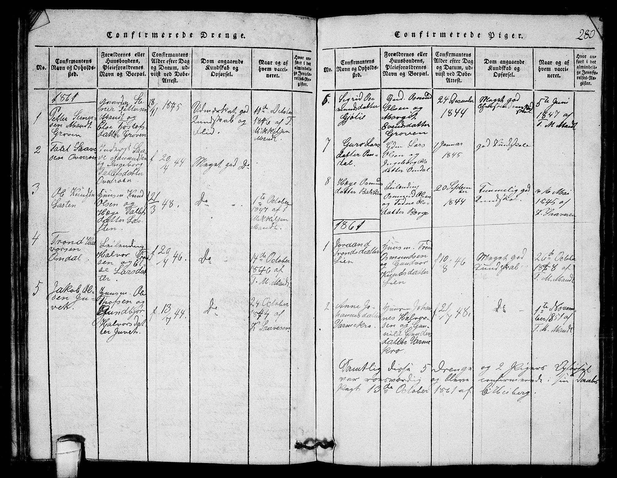 SAKO, Lårdal kirkebøker, G/Gb/L0001: Klokkerbok nr. II 1, 1815-1865, s. 280