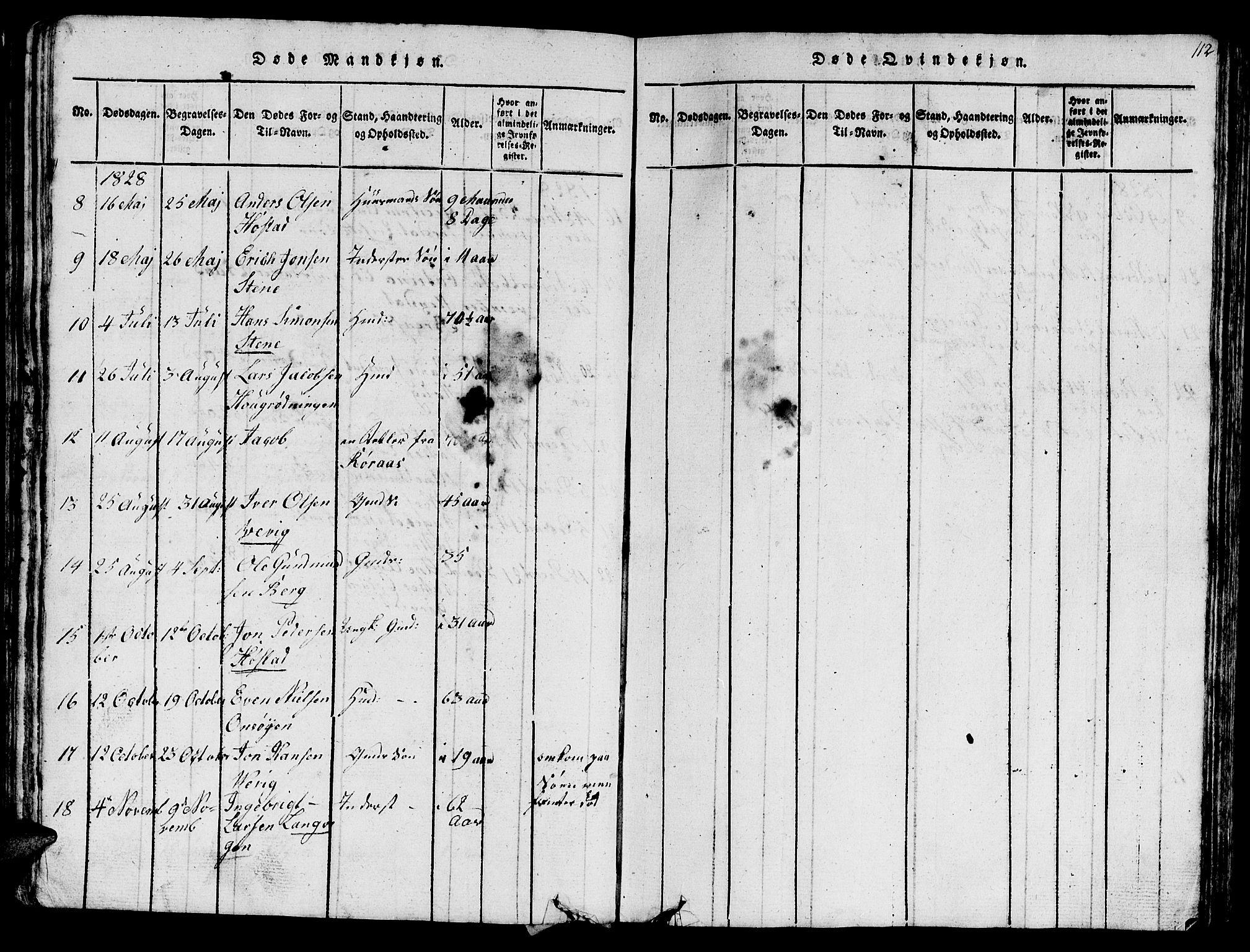 SAT, Ministerialprotokoller, klokkerbøker og fødselsregistre - Sør-Trøndelag, 612/L0385: Klokkerbok nr. 612C01, 1816-1845, s. 112