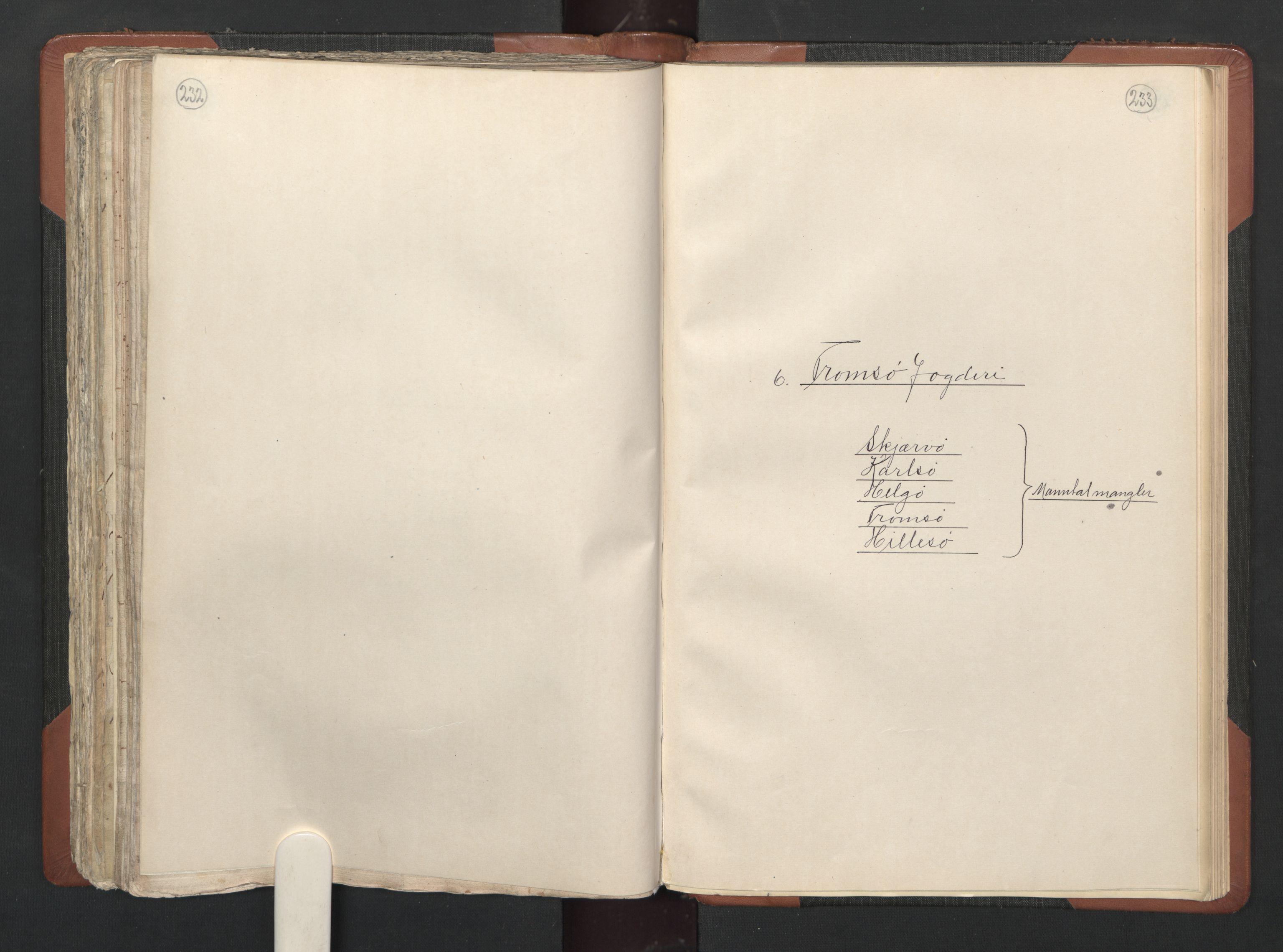 RA, Fogdenes og sorenskrivernes manntall 1664-1666, nr. 20: Fogderier (len og skipreider) i nåværende Nordland fylke, Troms fylke og Finnmark fylke, 1665, s. 232-233