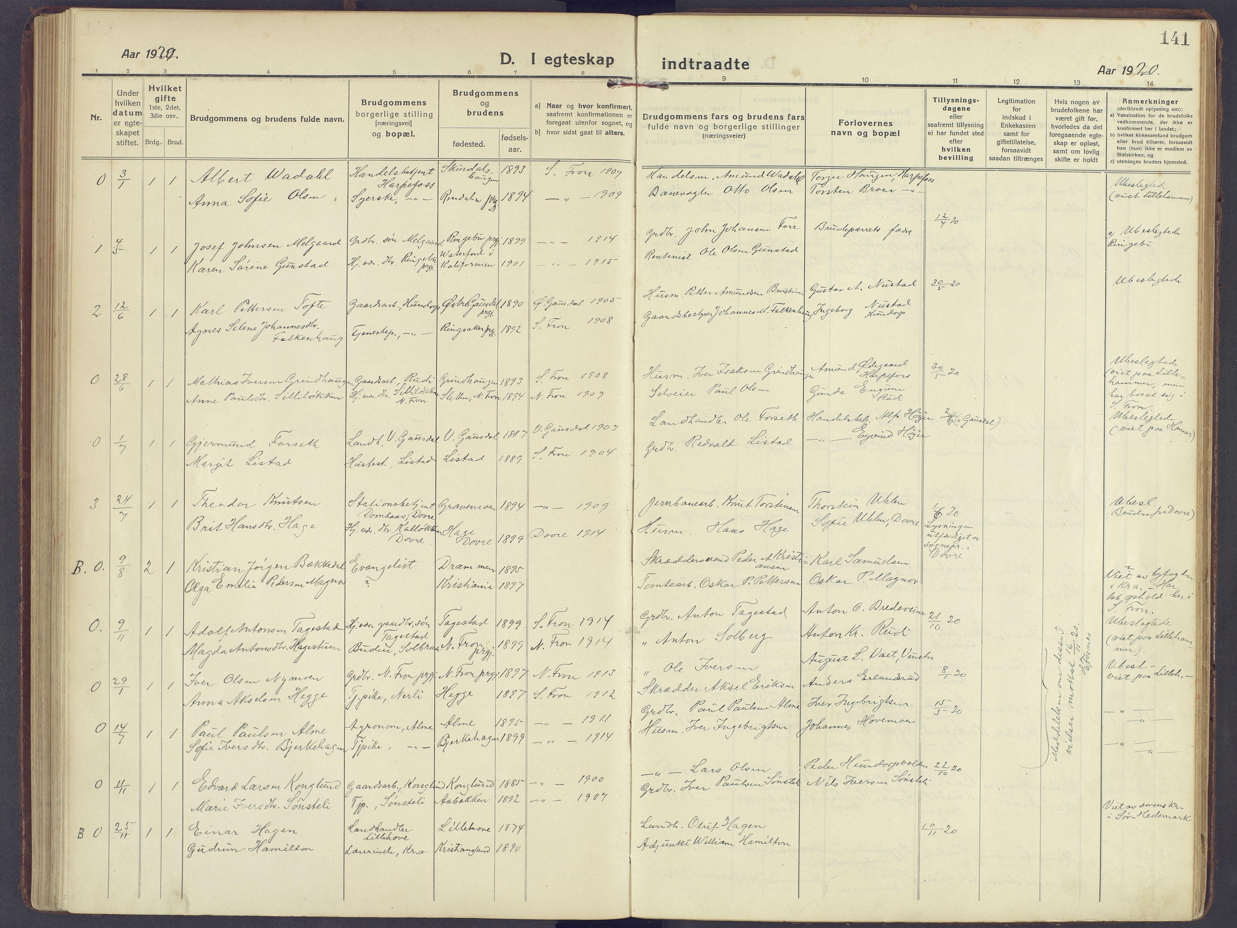 SAH, Sør-Fron prestekontor, H/Ha/Haa/L0005: Ministerialbok nr. 5, 1920-1933, s. 141