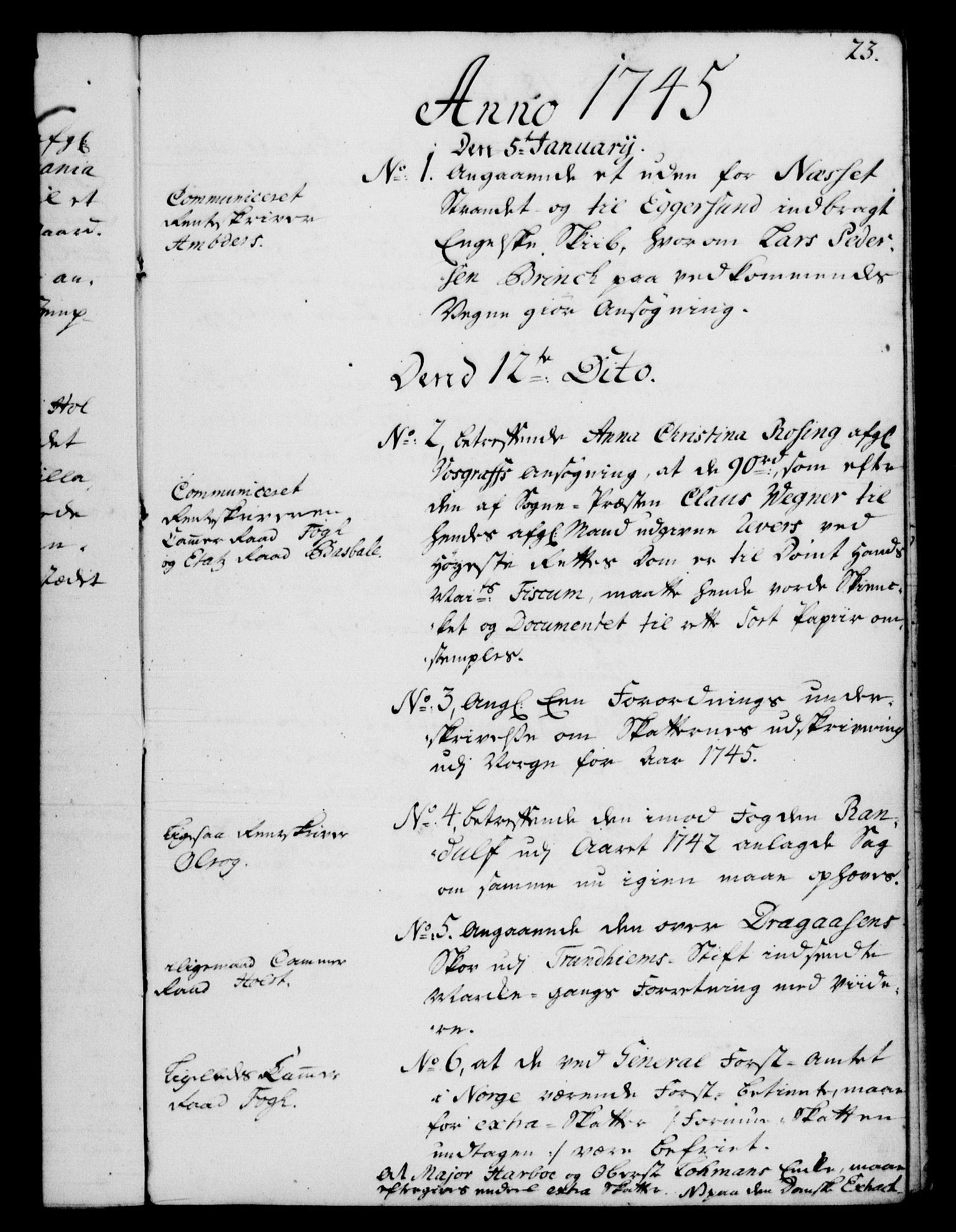 RA, Rentekammeret, Kammerkanselliet, G/Gf/Gfb/L0005: Register til norske relasjons- og resolusjonsprotokoller (merket RK 52.100), 1744-1754, s. 23