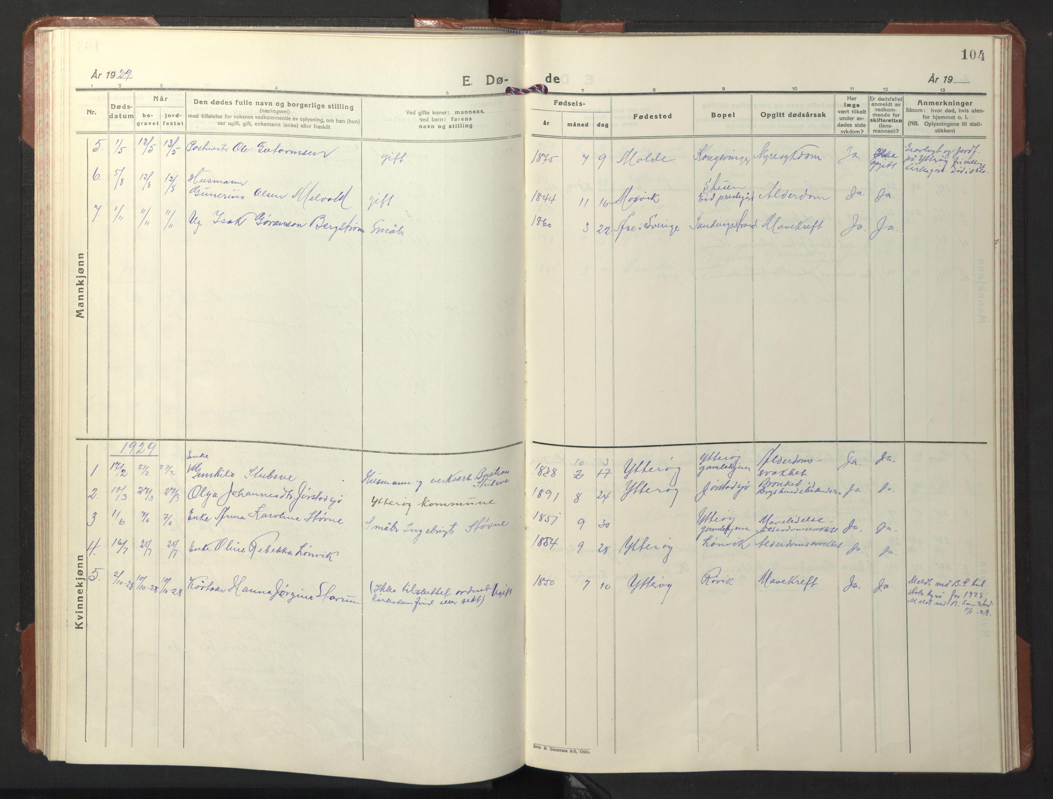 SAT, Ministerialprotokoller, klokkerbøker og fødselsregistre - Nord-Trøndelag, 722/L0227: Klokkerbok nr. 722C03, 1928-1958, s. 104