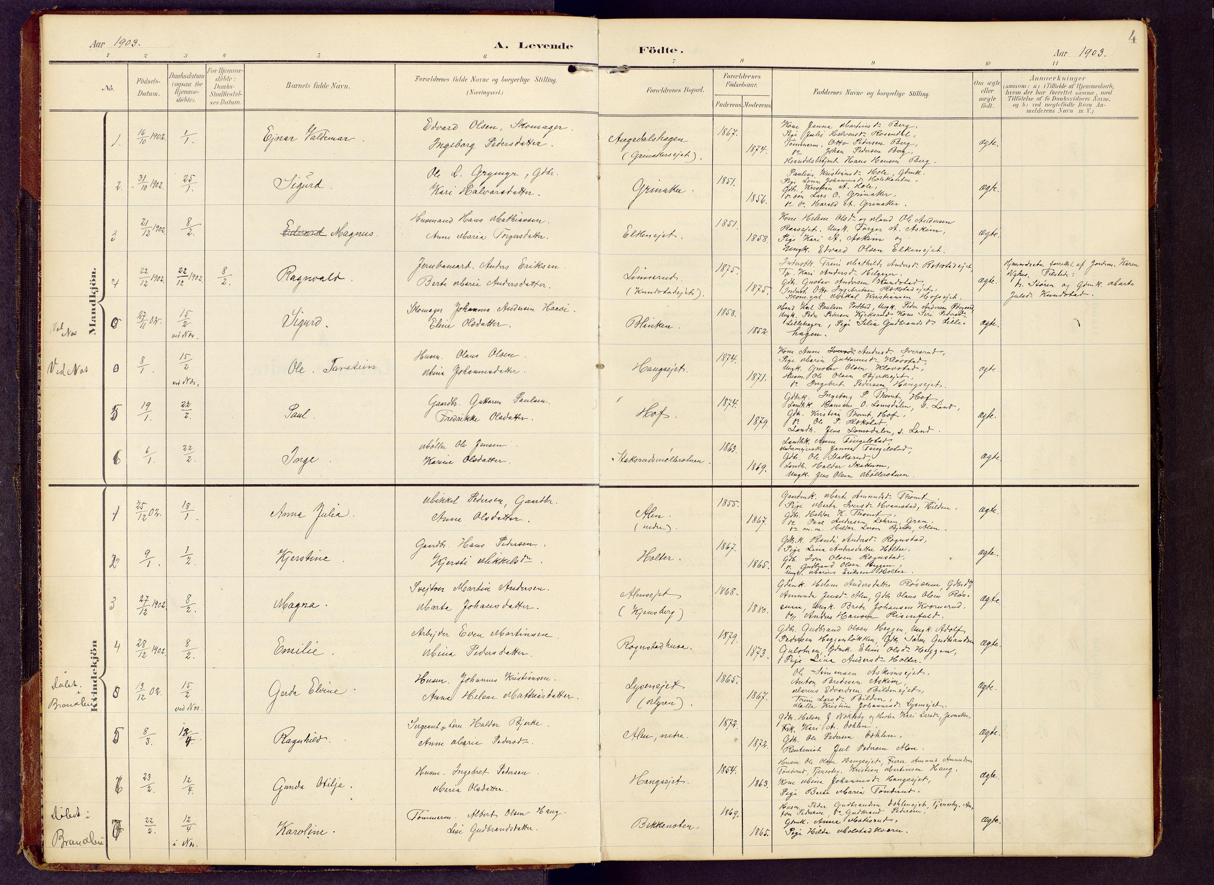 SAH, Brandbu prestekontor, Klokkerbok nr. 9, 1903-1916, s. 4