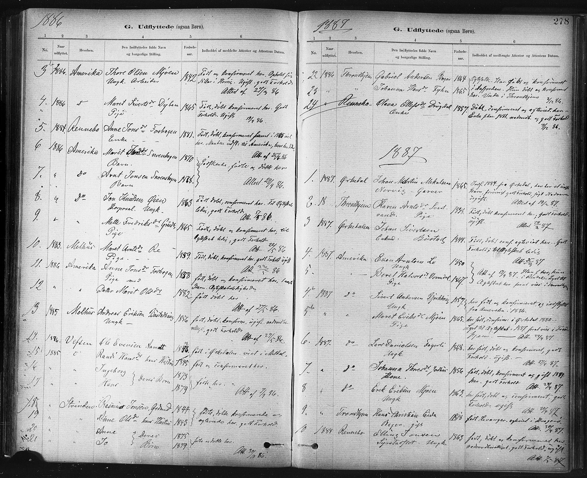SAT, Ministerialprotokoller, klokkerbøker og fødselsregistre - Sør-Trøndelag, 672/L0857: Ministerialbok nr. 672A09, 1882-1893, s. 278