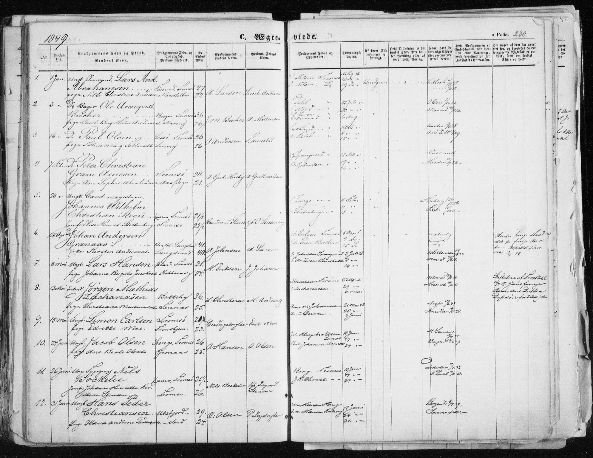 SATØ, Tromsø sokneprestkontor/stiftsprosti/domprosti, G/Ga/L0010kirke: Ministerialbok nr. 10, 1848-1855, s. 230