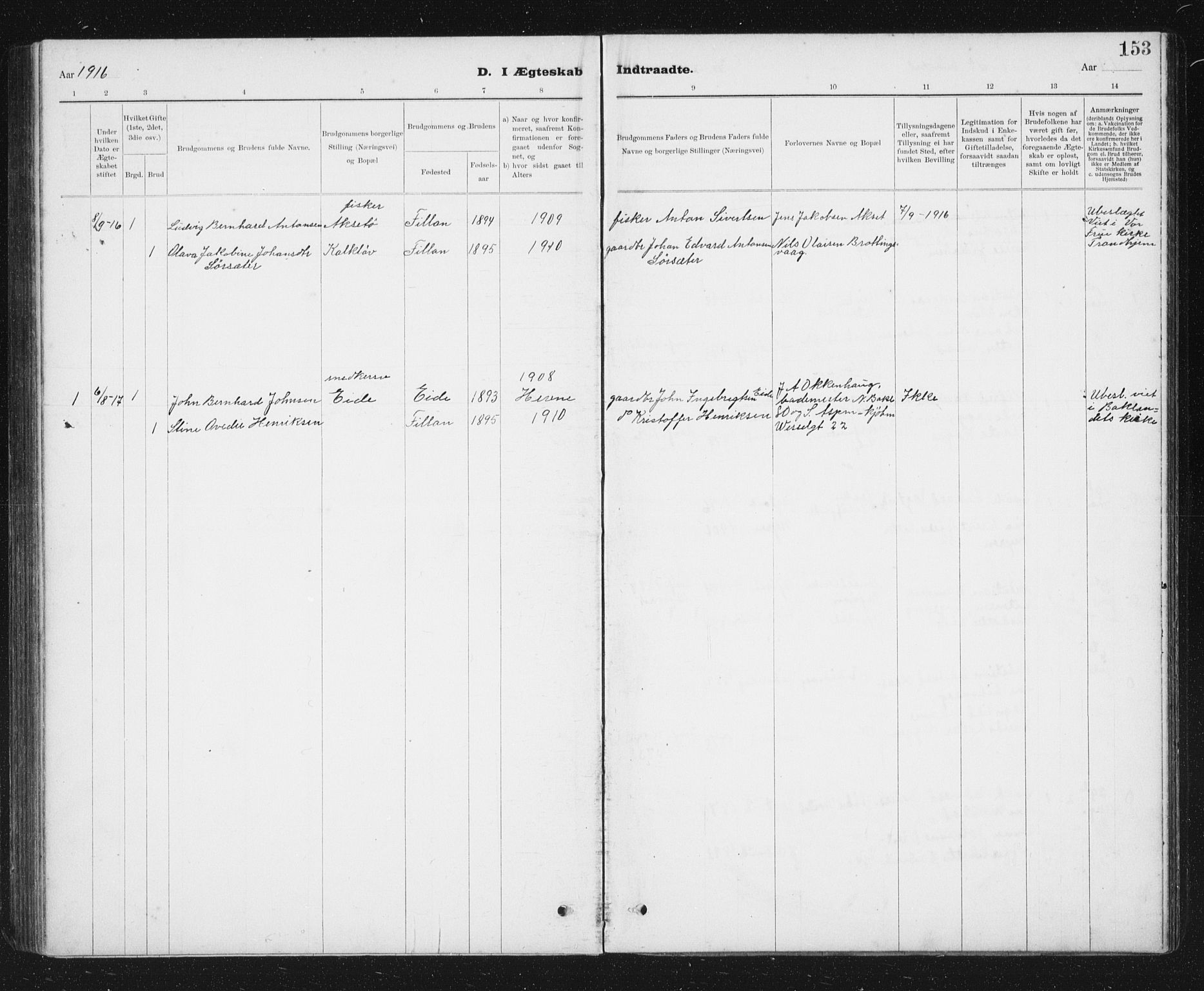 SAT, Ministerialprotokoller, klokkerbøker og fødselsregistre - Sør-Trøndelag, 637/L0563: Klokkerbok nr. 637C04, 1899-1940, s. 153